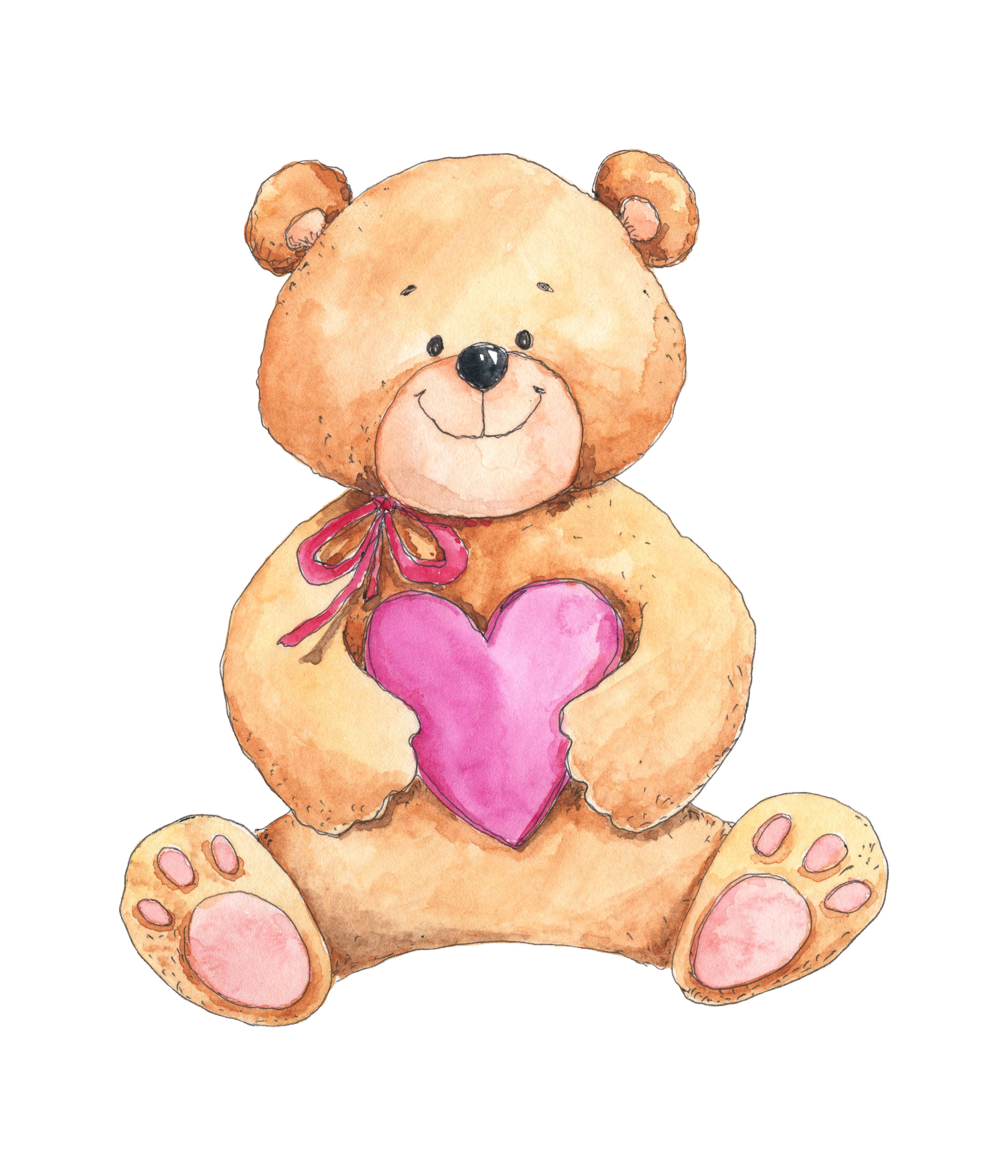 Love Teddy Bear With Heart By Olyamore Thehungryjpeg Com
