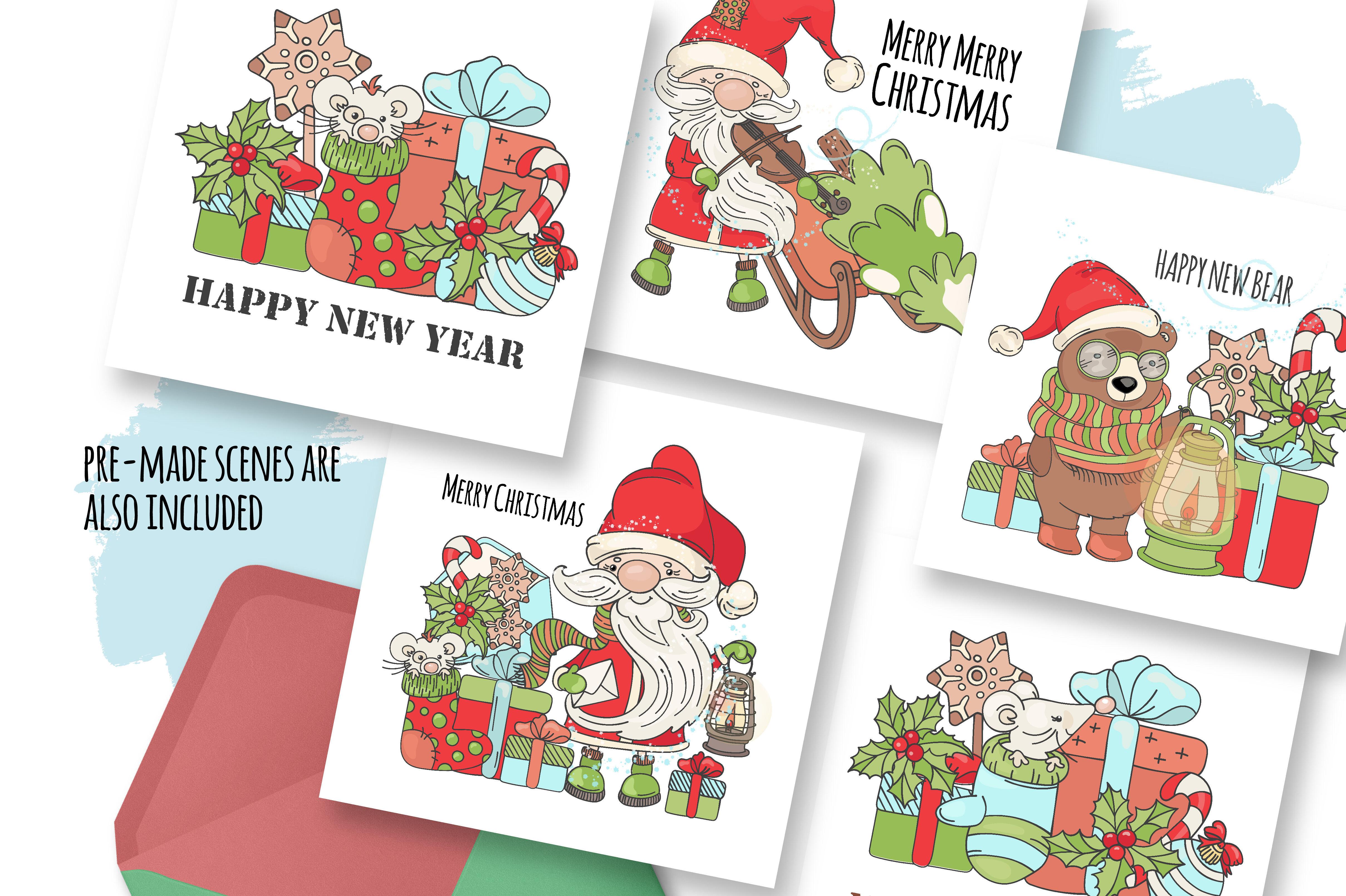 Christmas Song New Year Santa Music Vector Clip Art Pattern Set By