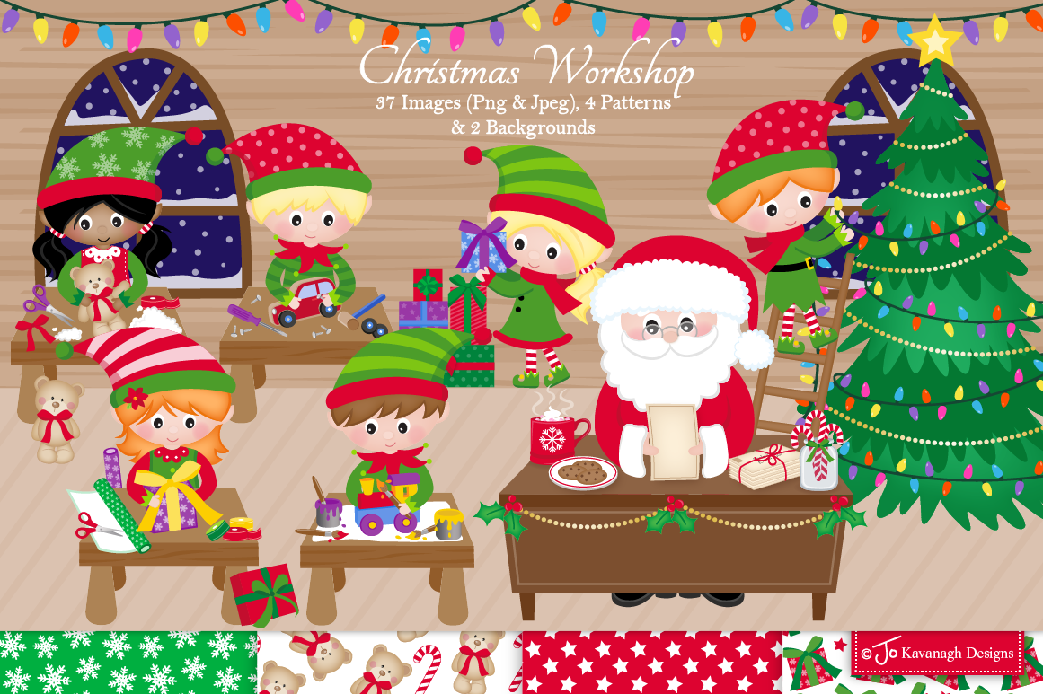 Christmas Clipart Bundle Santa Clipart Elf Clipart C42 By Jo