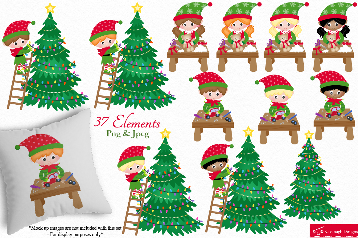 Christmas Clipart Bundle Santa Clipart Elf Clipart C42 By Jo