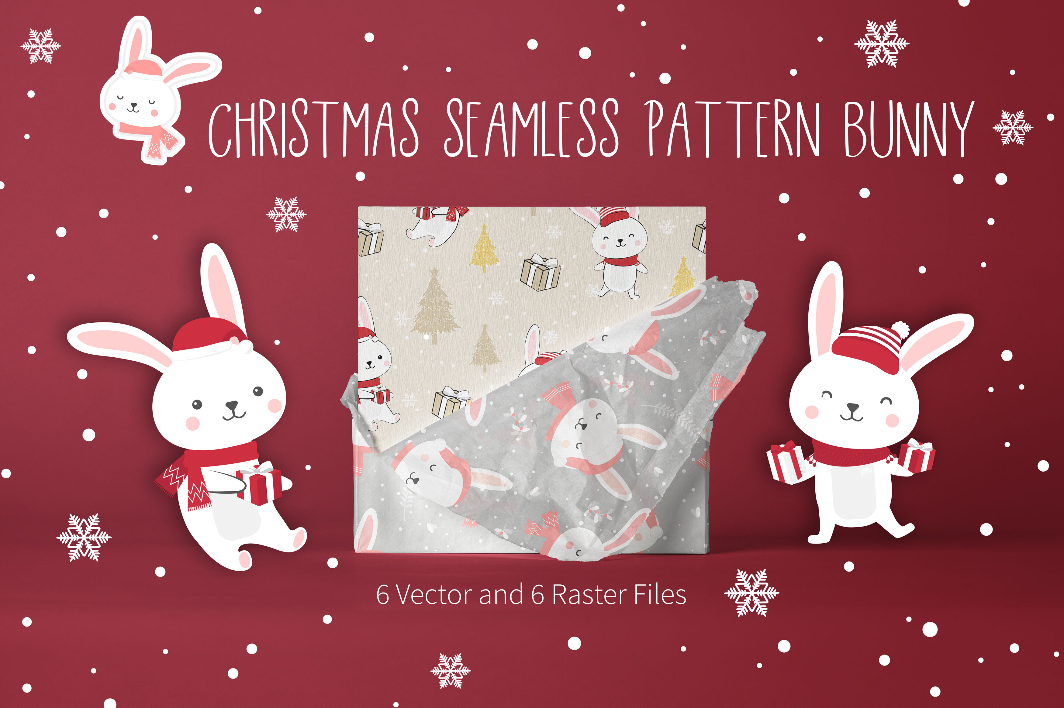 Christmas Seamless Pattern Bunny By Jannta Thehungryjpeg Com