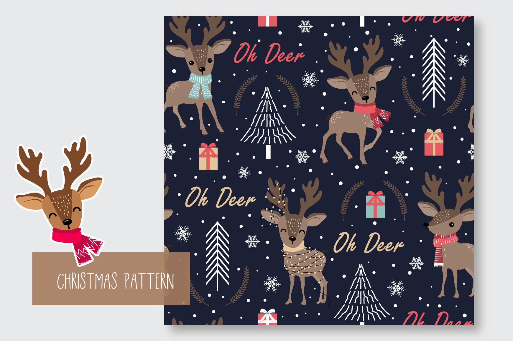 Christmas Seamless Pattern Reindeer By Jannta Thehungryjpeg Com
