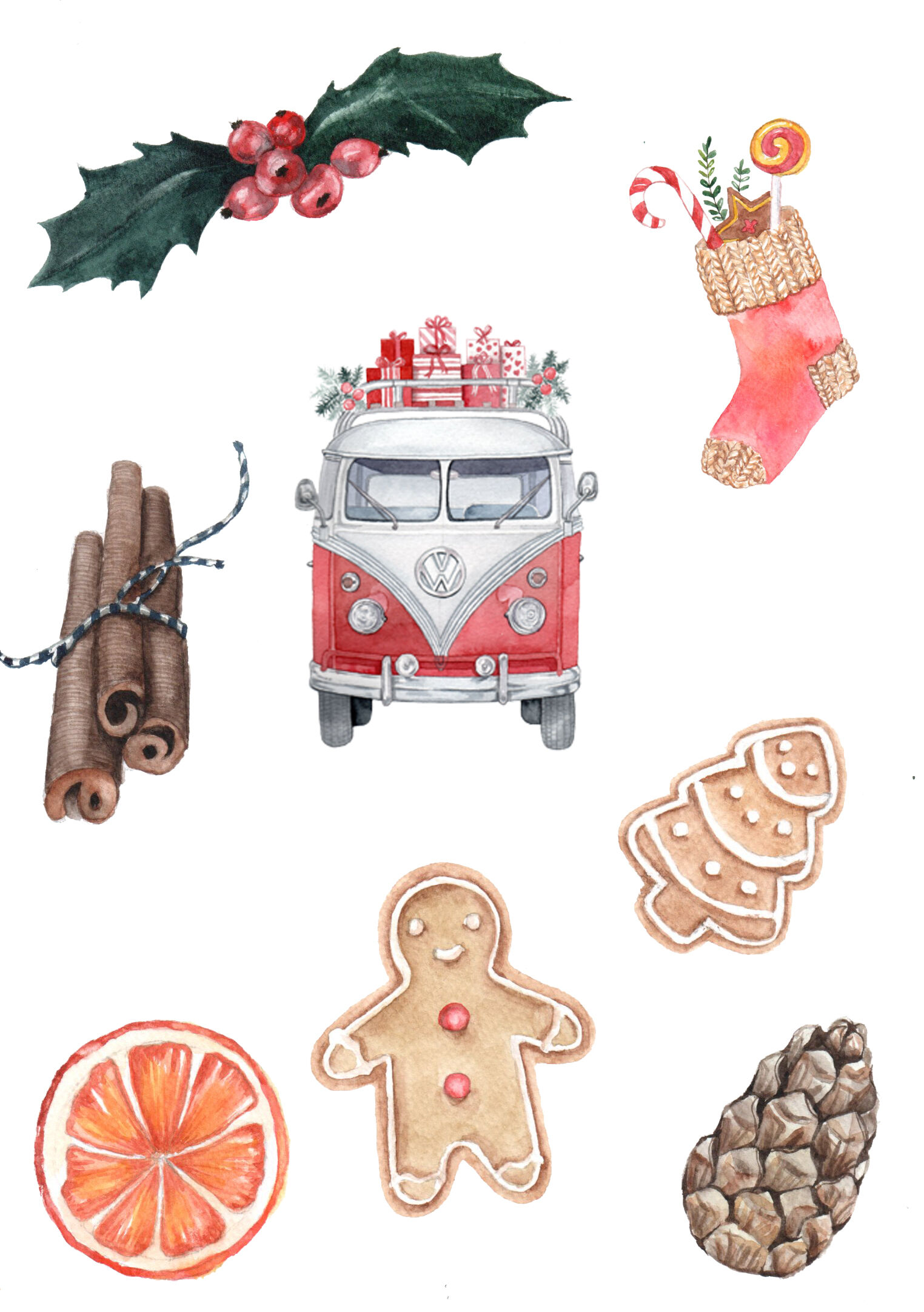 Christmas Watercolor Clipart Retro Cars Sweet Candy New Year