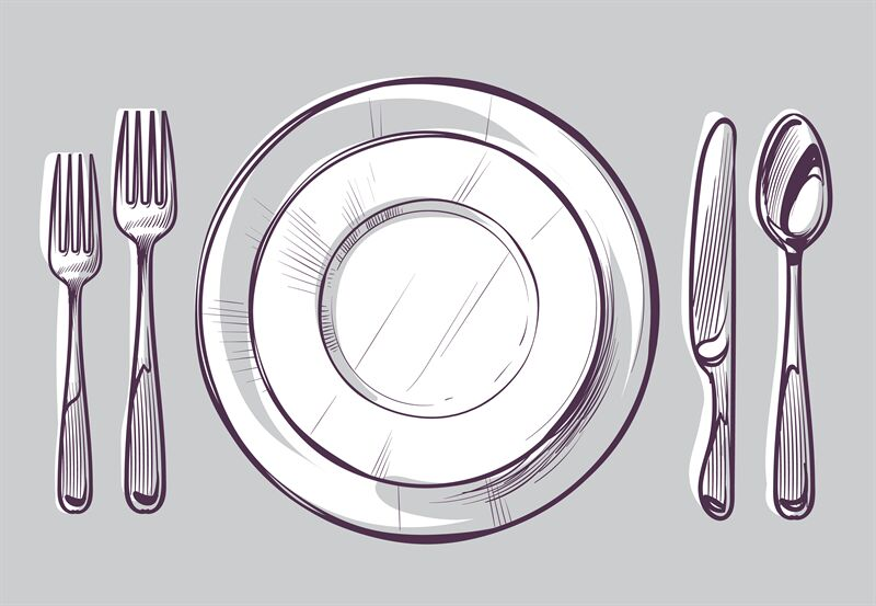Sketch Plate Fork And Knife Dinner Cutlery And Empty Dish On