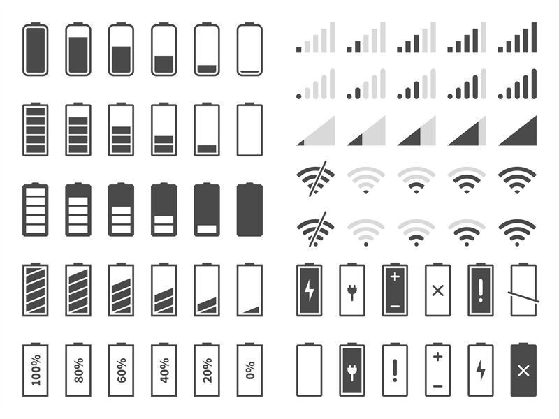 Signal And Battery Icons Network Signal Strength And Telephone