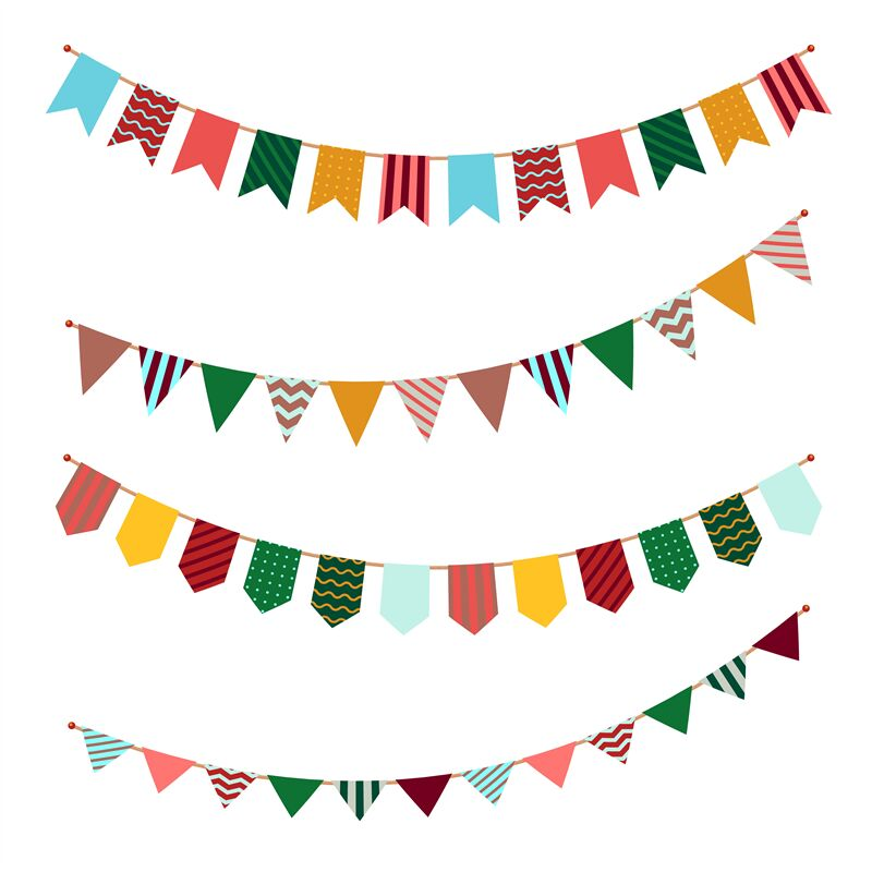 Bunting Set Party Flags Garland With Ornament Decor On Streamers