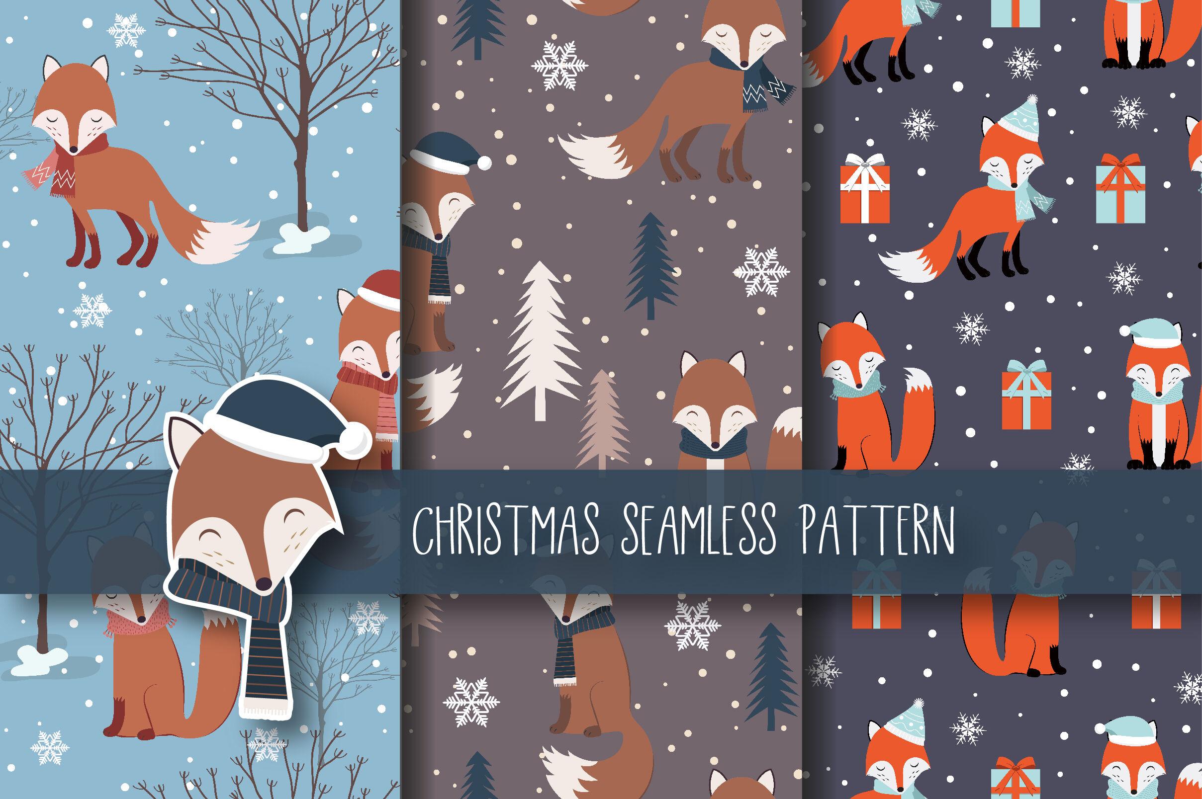 Christmas Seamless Pattern Fox By Jannta Thehungryjpeg Com