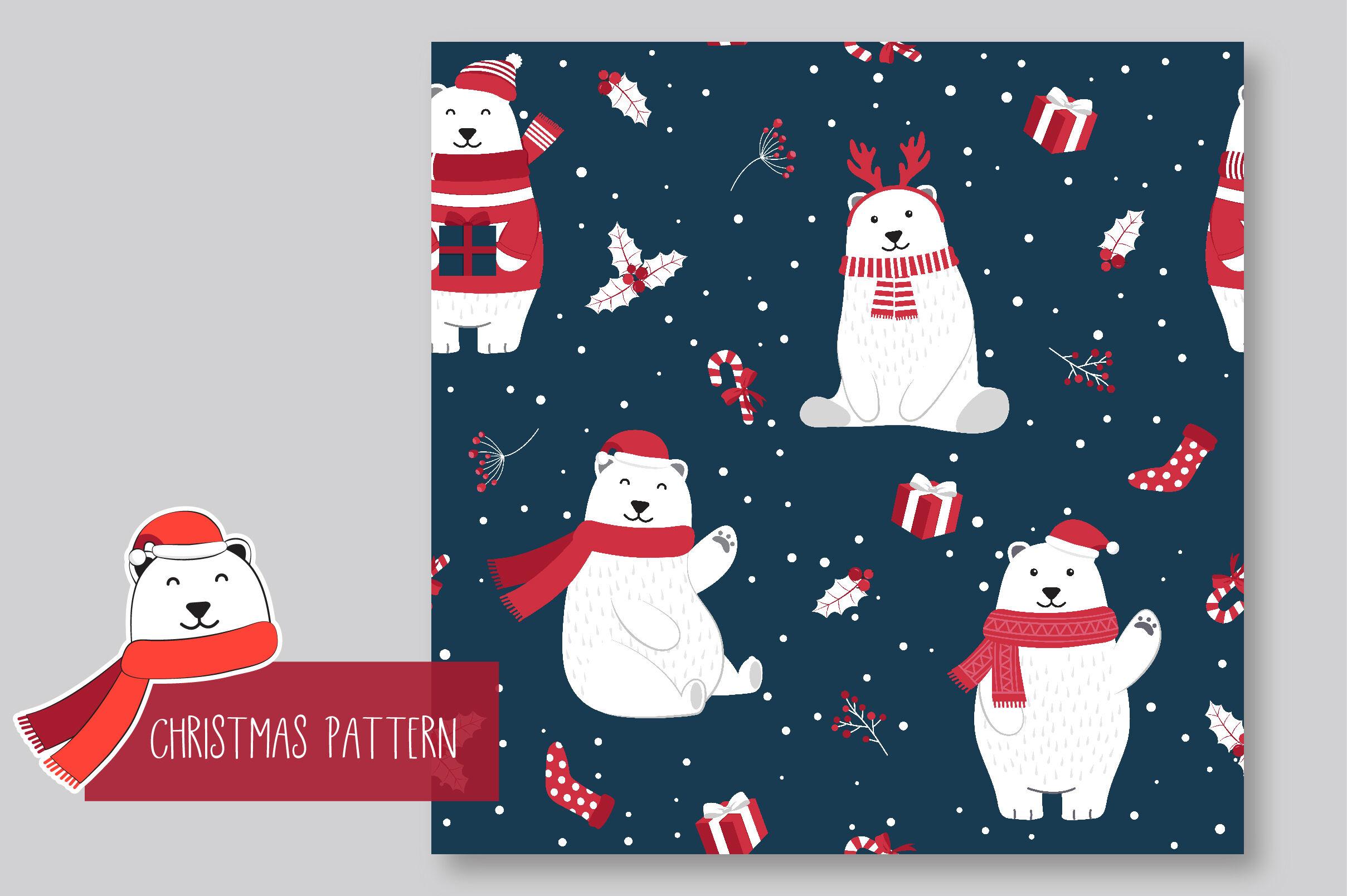 Christmas Seamless Pattern Polar Bear By Jannta Thehungryjpeg Com