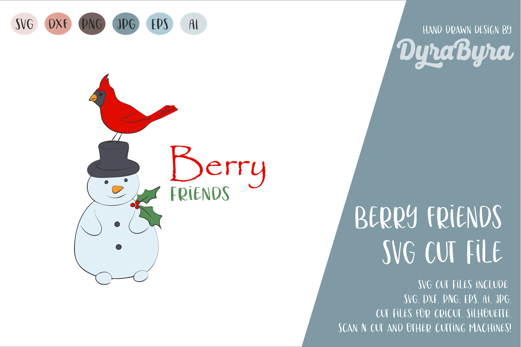 Best Friends Svg Cardinal Bird And Snowman Svg Cut File By