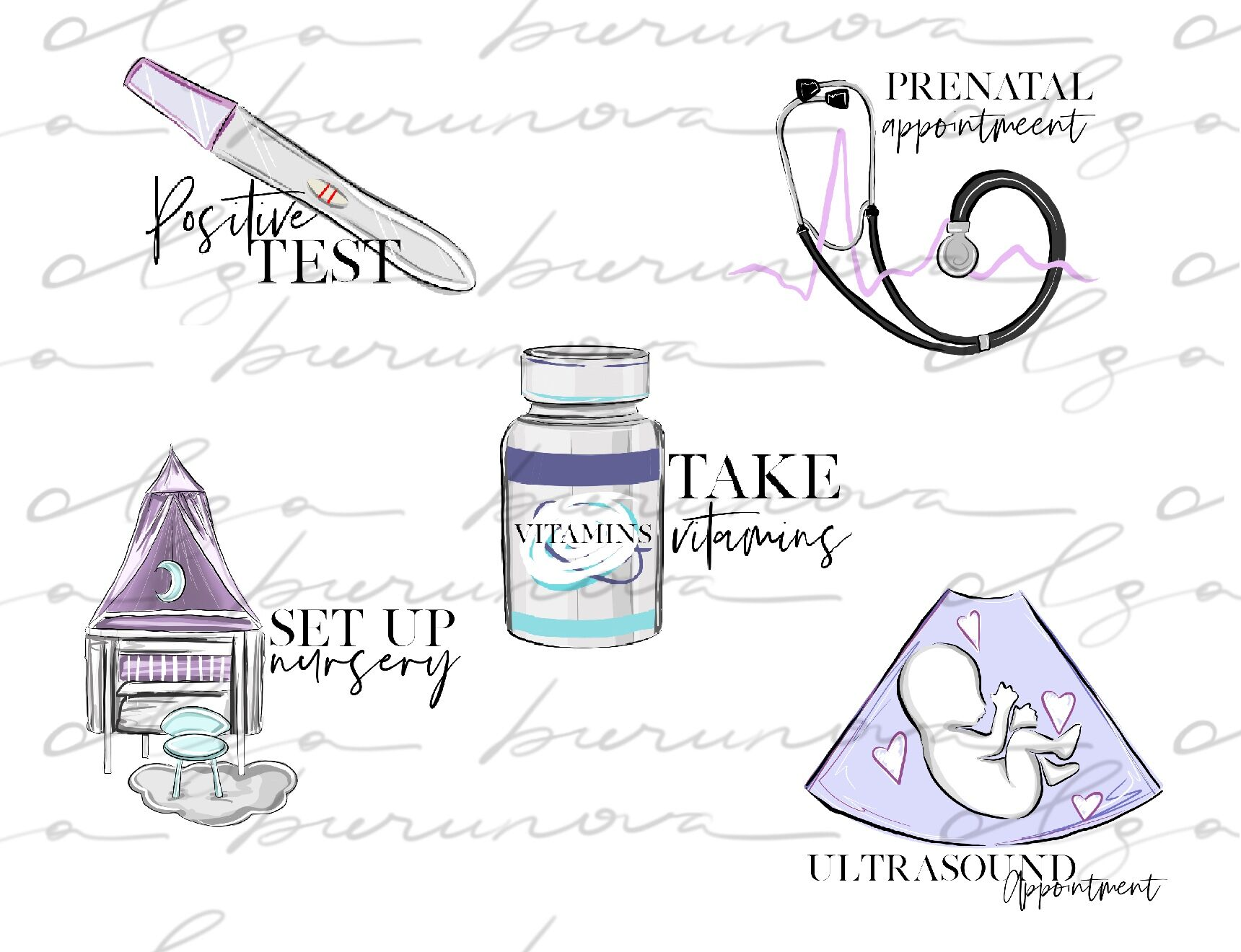 Pregnancy Printable Stickers Icons By Olgaburunovaart