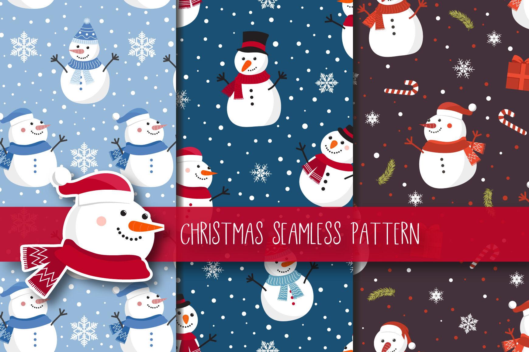 Christmas Seamless Pattern Snowman By Jannta Thehungryjpeg Com