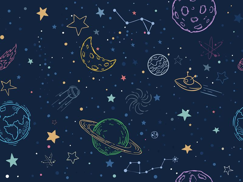 Color Seamless Space Pattern Hand Drawn Planets Cosmic Galaxy