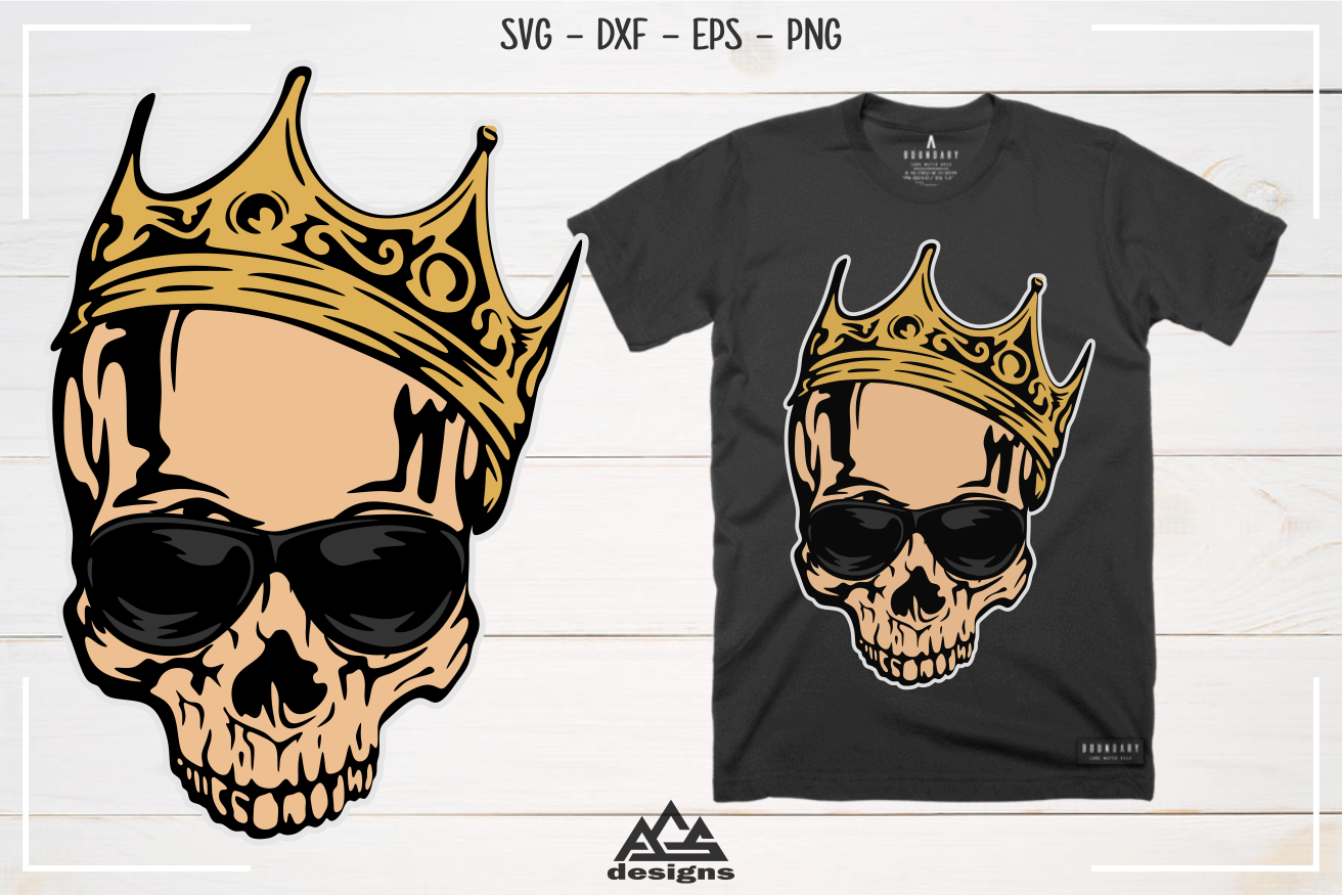 Hipster Skull With Crown Svg Design By Agsdesign Thehungryjpeg Com