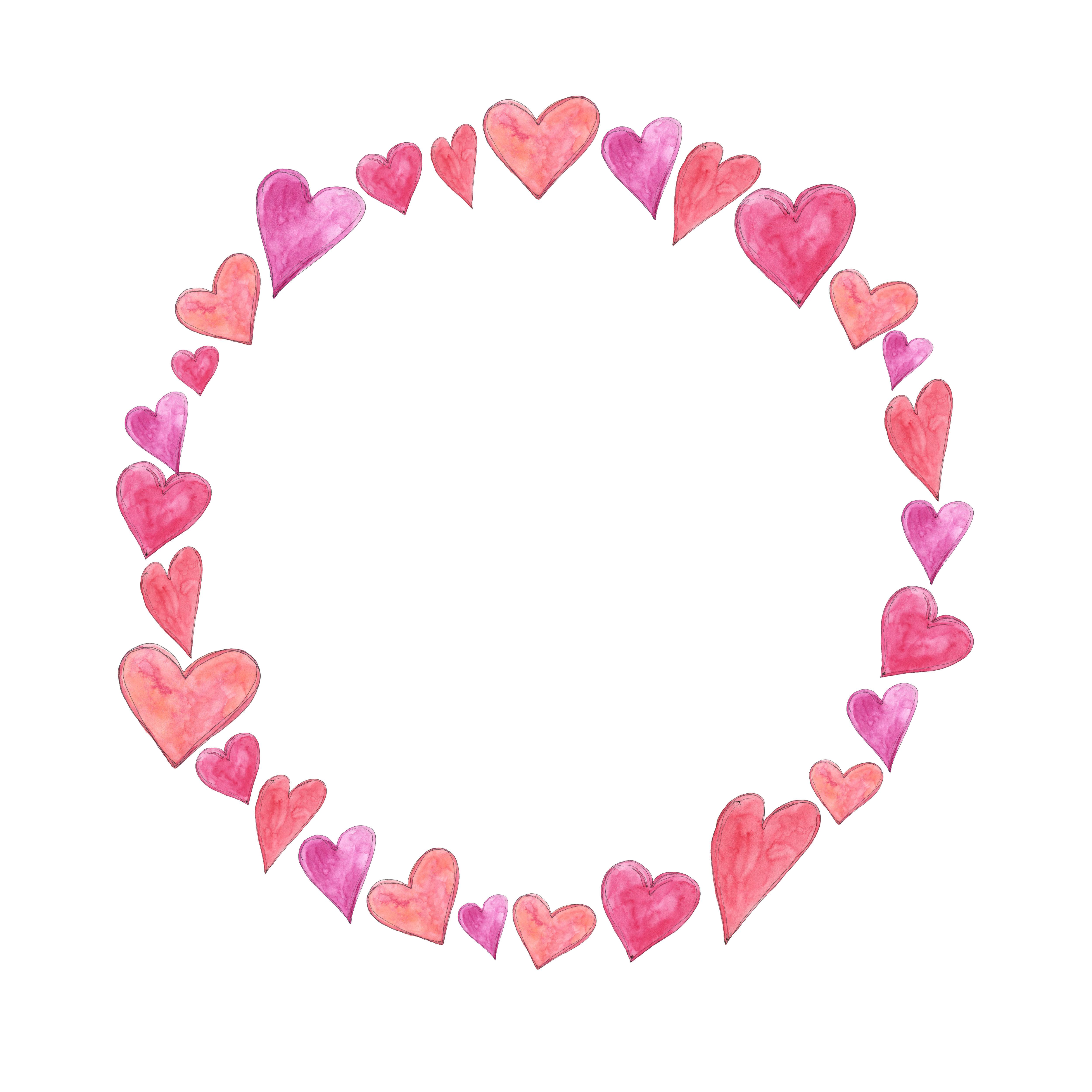 Love Watercolor Circle Frame Wreath With Hearts By Olyamore