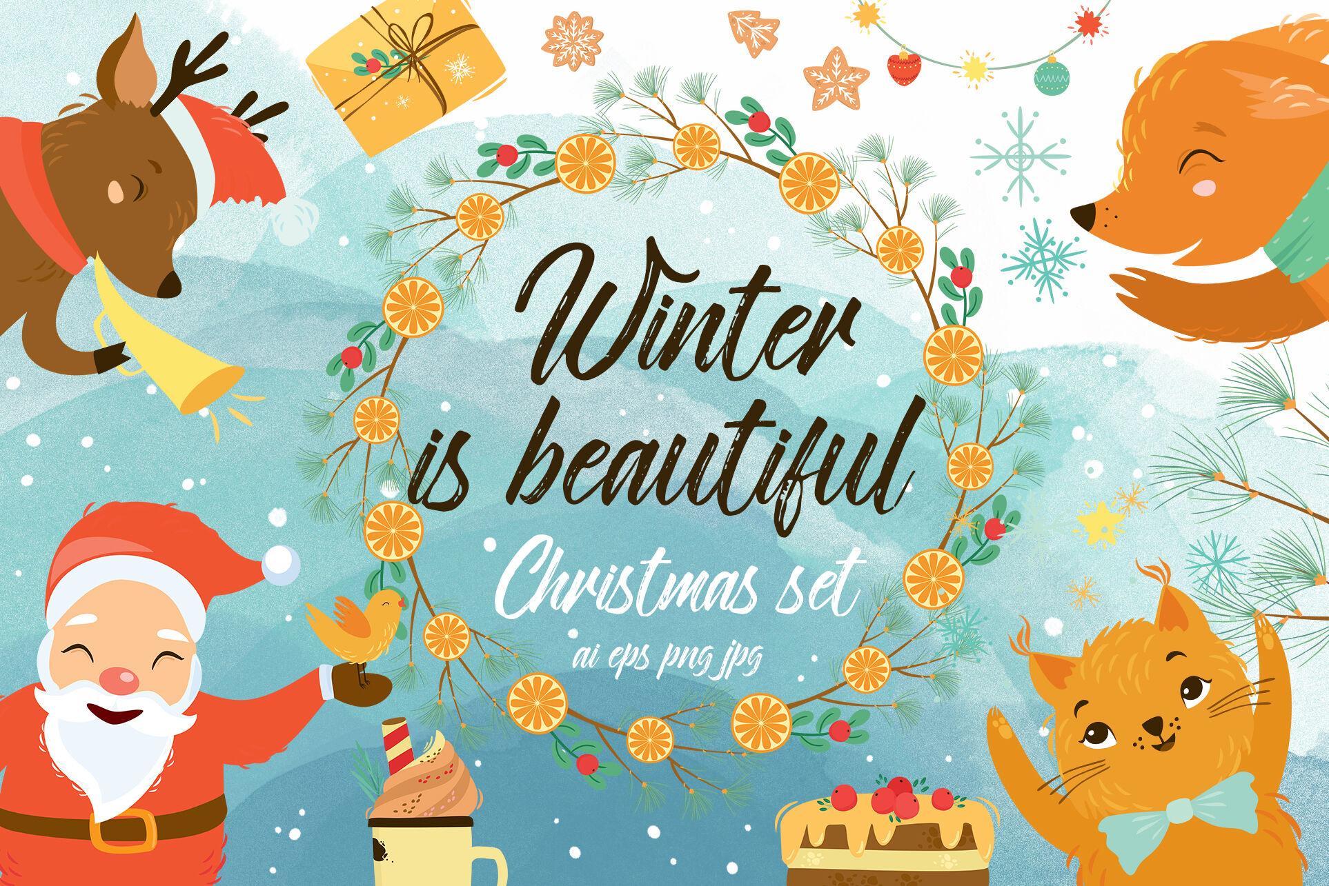 Winter Christmas Set With Santa Svg Ai Eps Png By Lesya Skripak