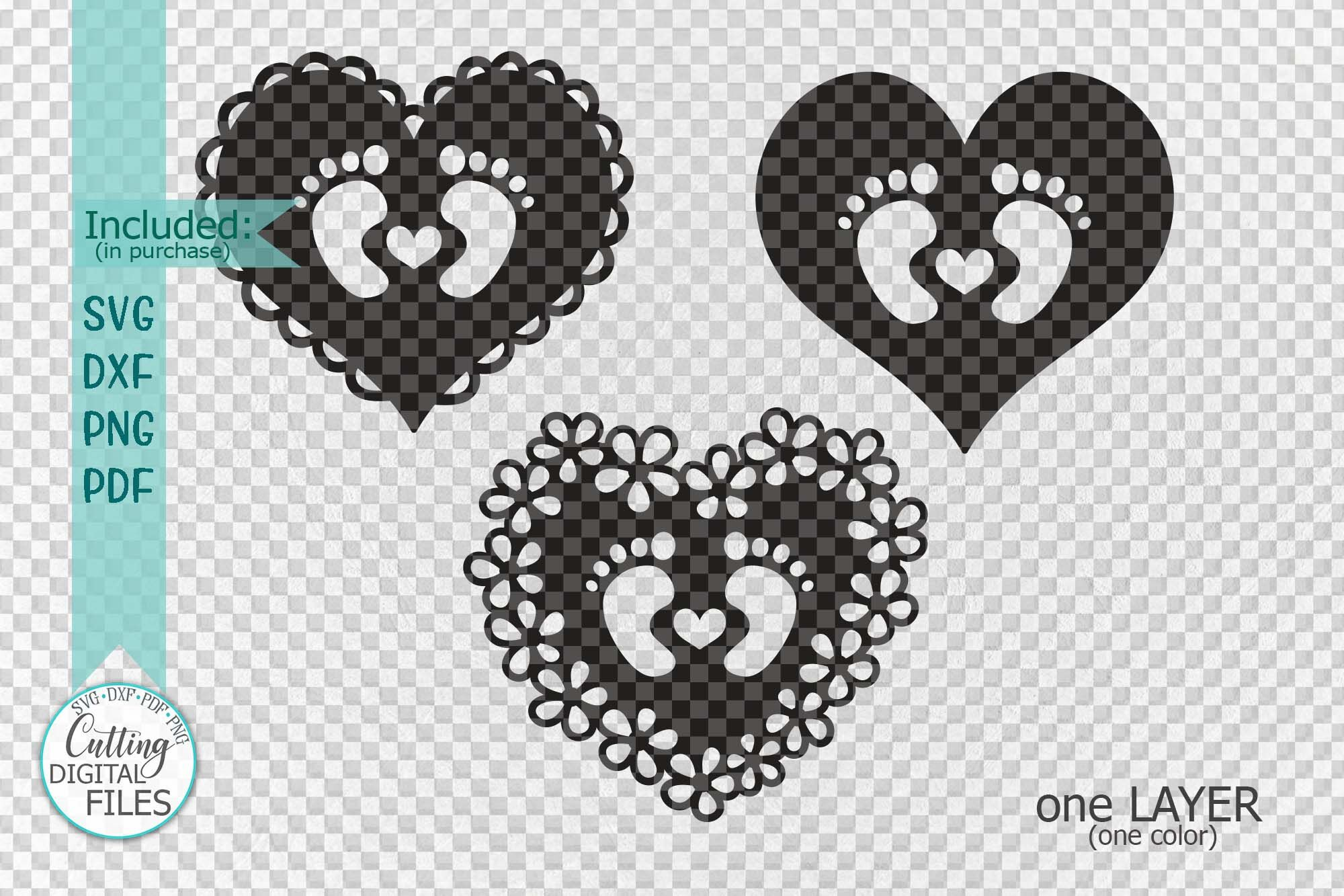 Baby Footprint Foot With Heart Svg Dxf Papercut Laser Cut By