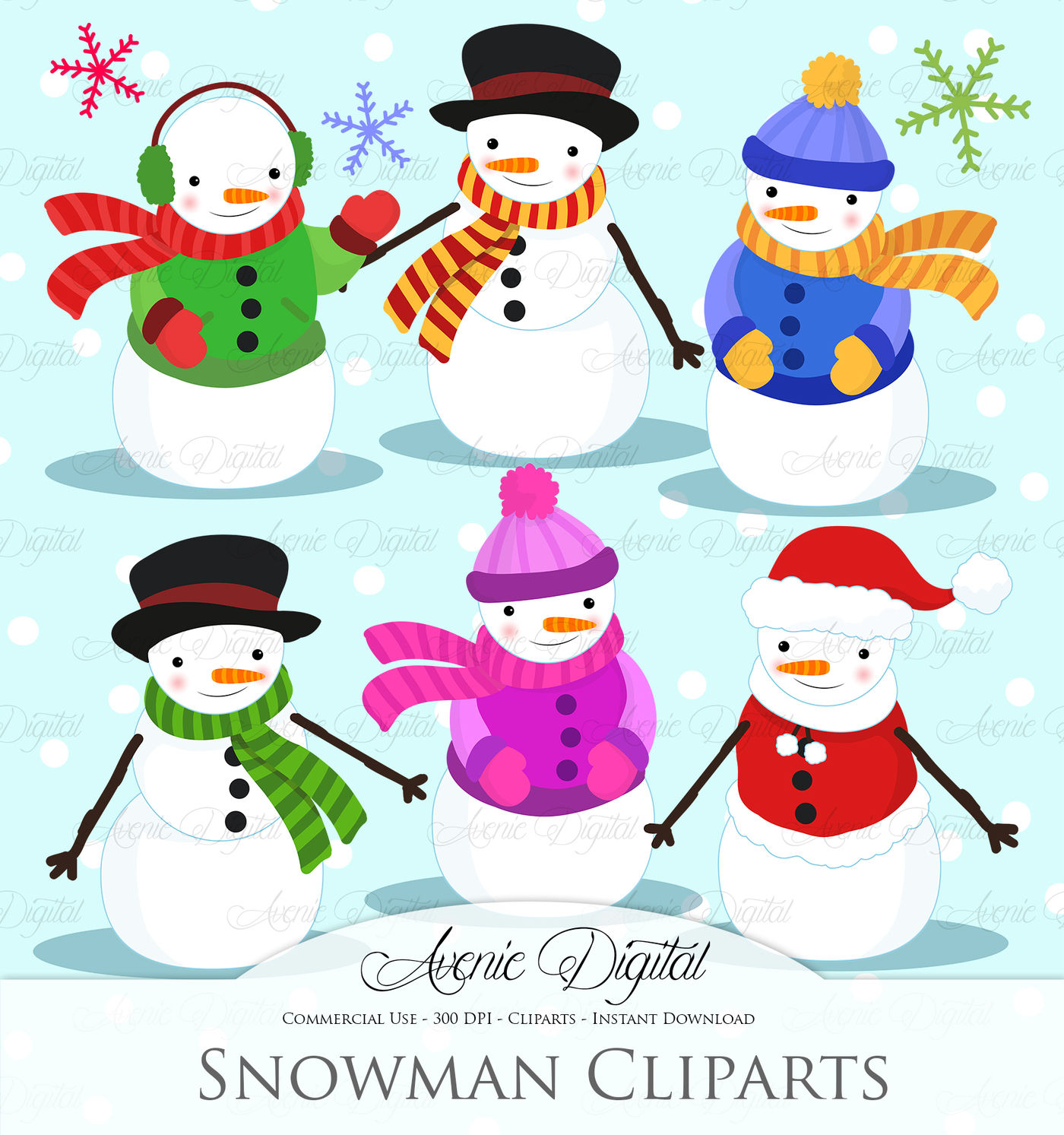 Christmas Snowman Clipart Vectors By Aveniedigital
