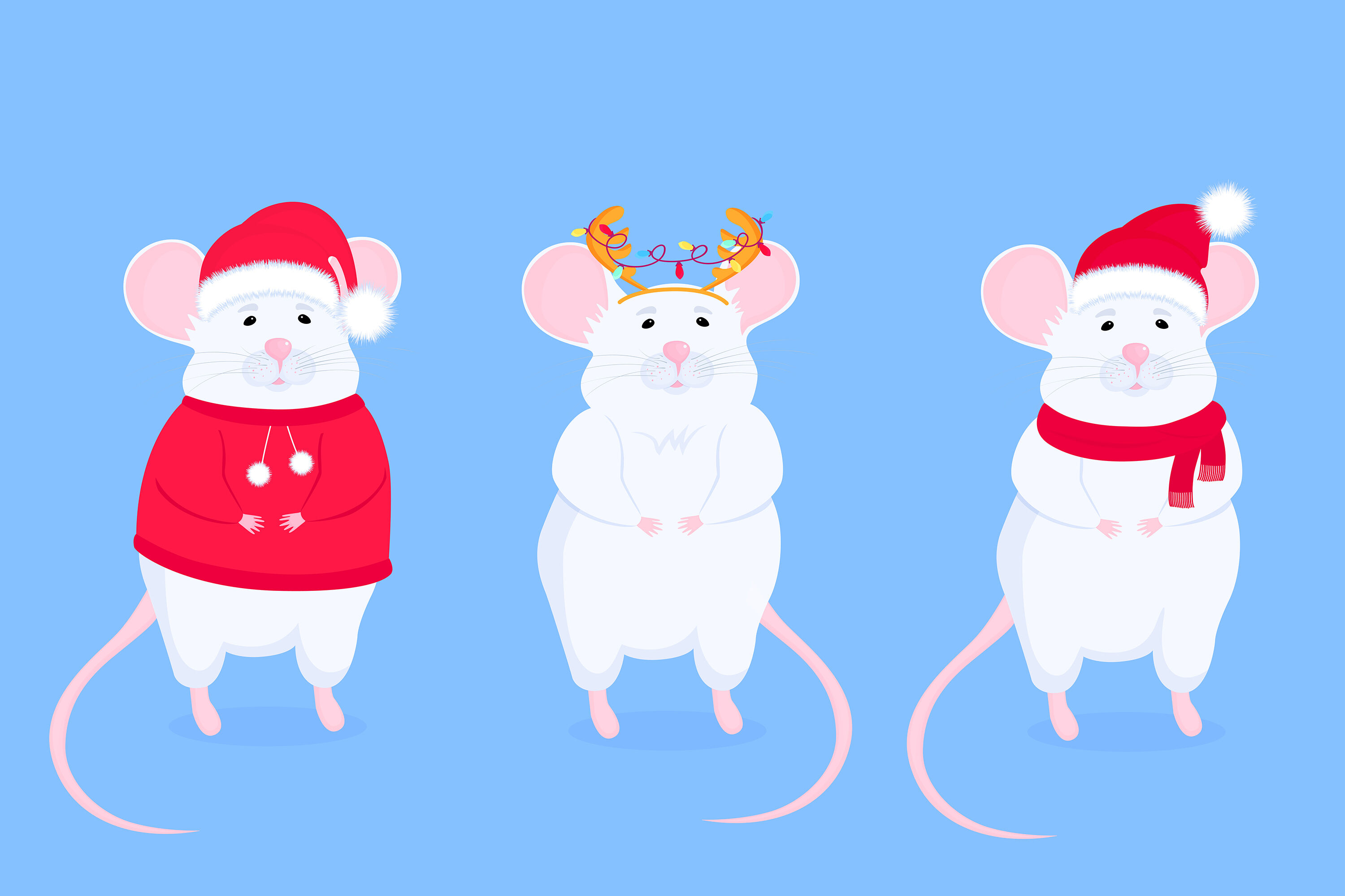 Rat In Santa S Hat And With Antler Chinese New Year 2020 By