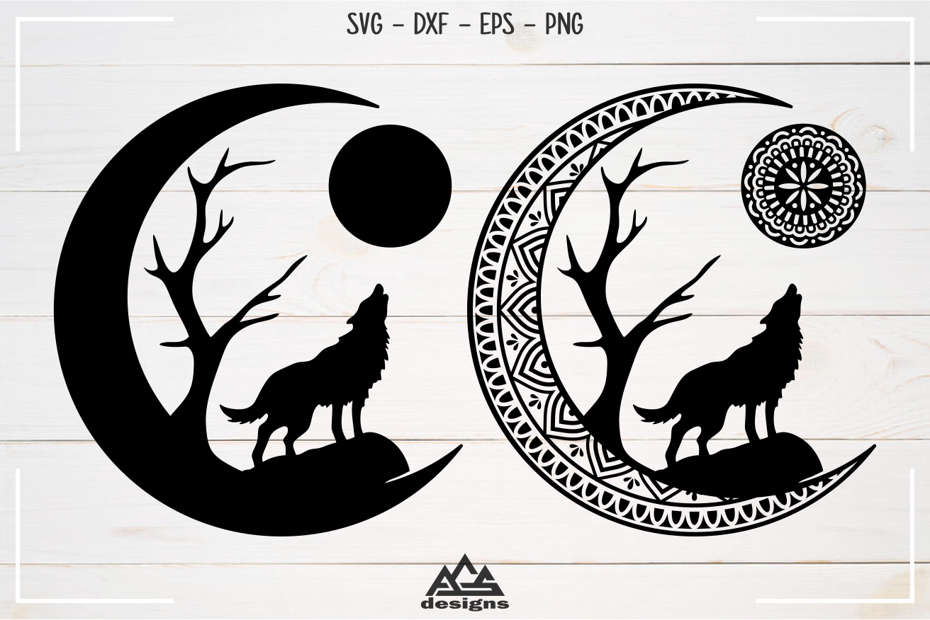 Moon Wolf Barking Mandala Earring Svg Design By Agsdesign