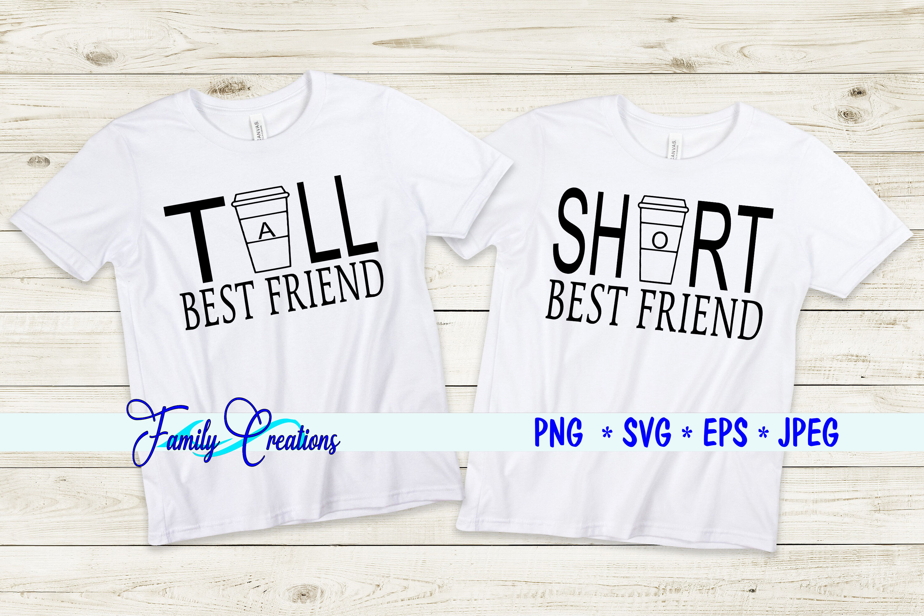 Tall Short Best Friend By Family Creations Thehungryjpeg Com