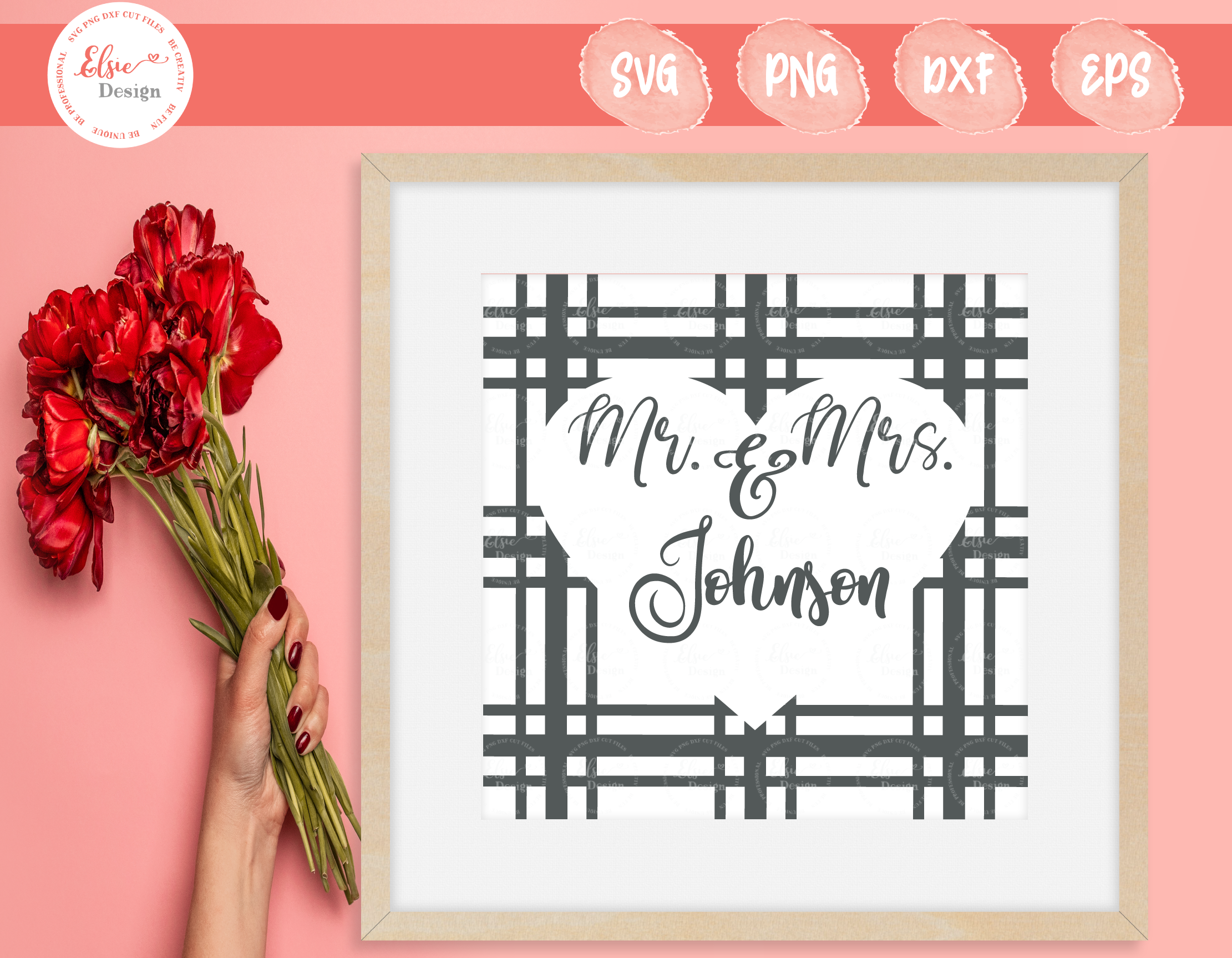 Mr And Mrs Plaid Monogram Svg By Elsielovesdesign