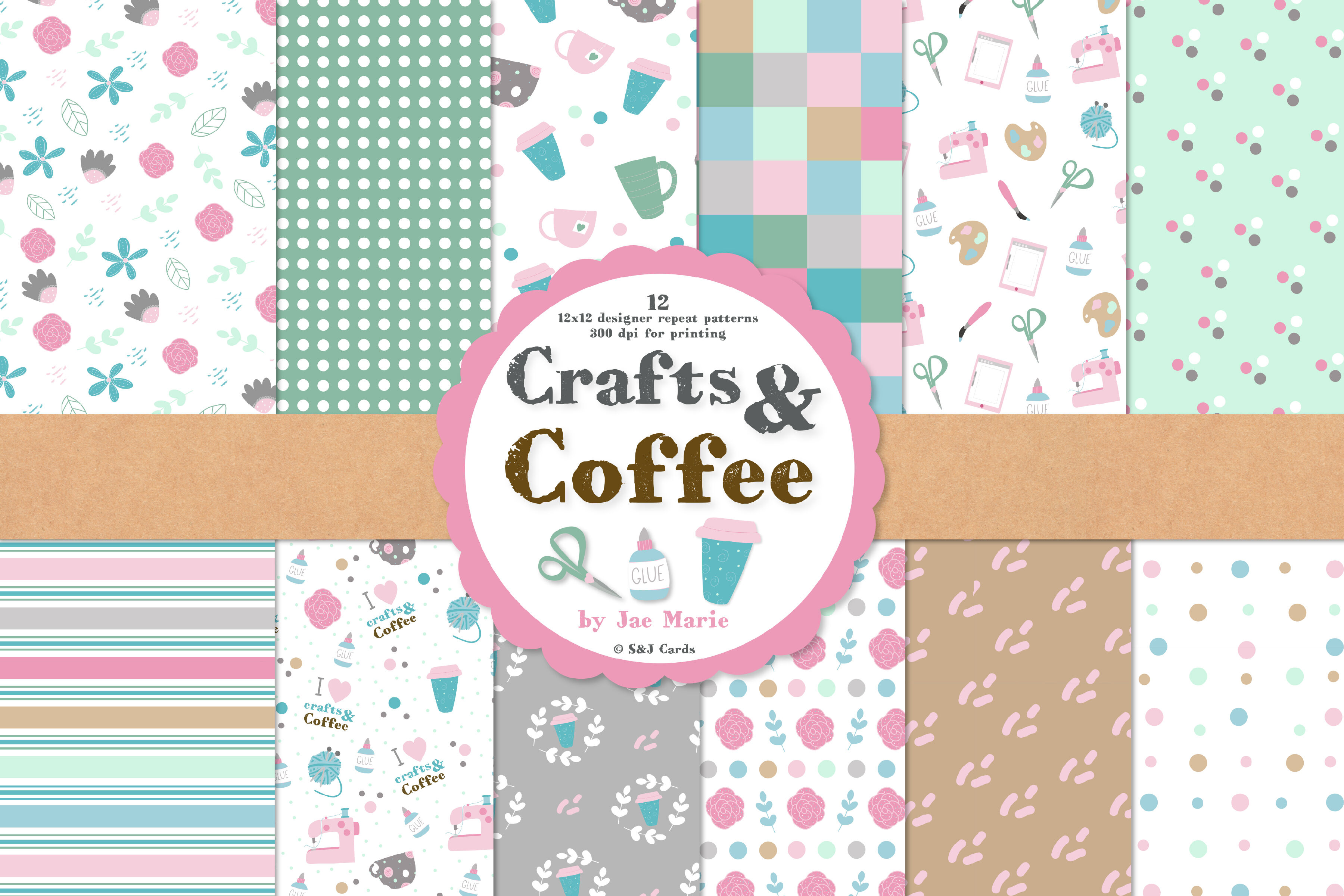 Crafts And Coffee Seamless Pattern Papers And Clipart By Jae Marie