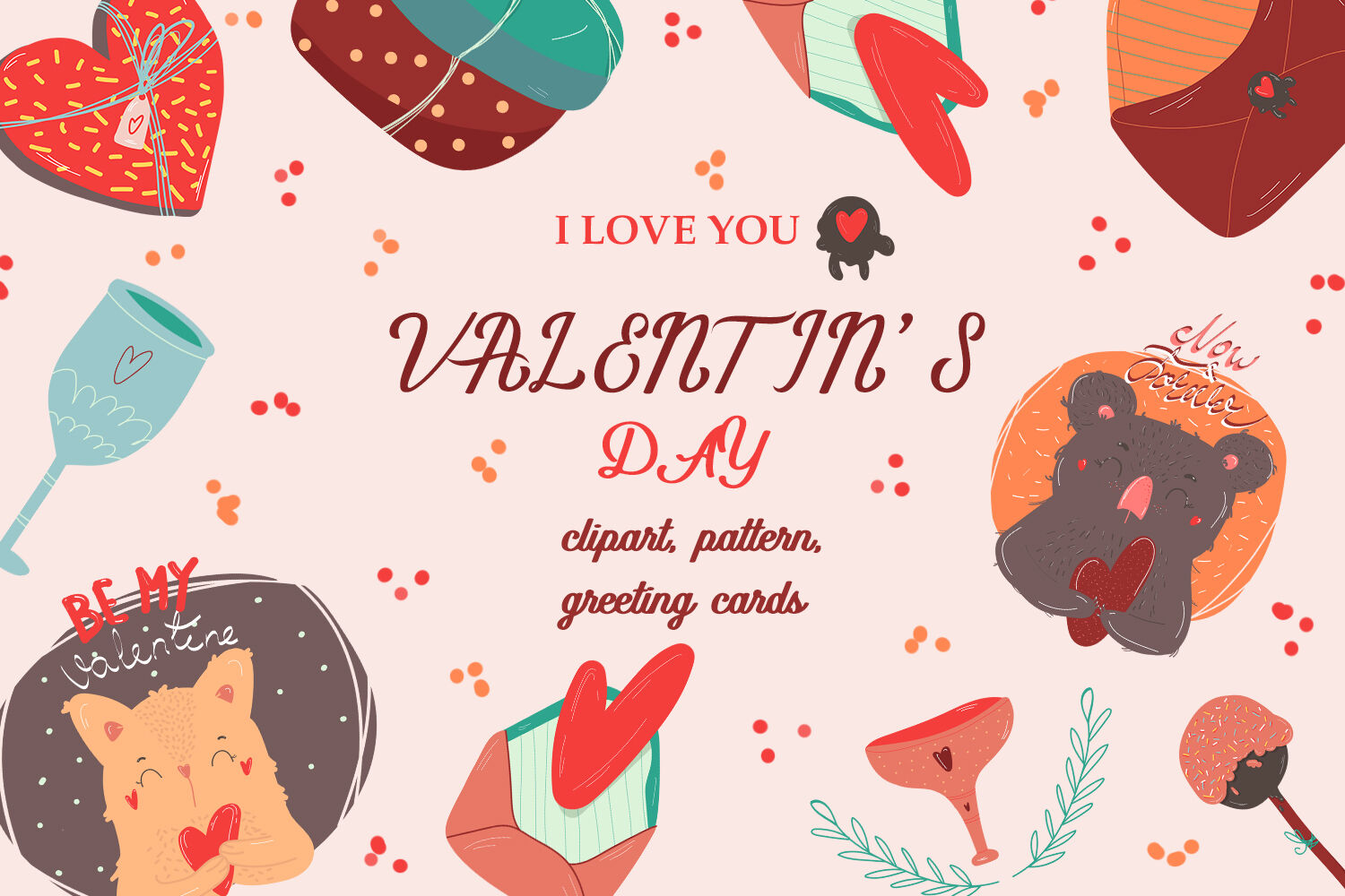 Valentine Clipart Pattern And Greeting Cards By Inspiration