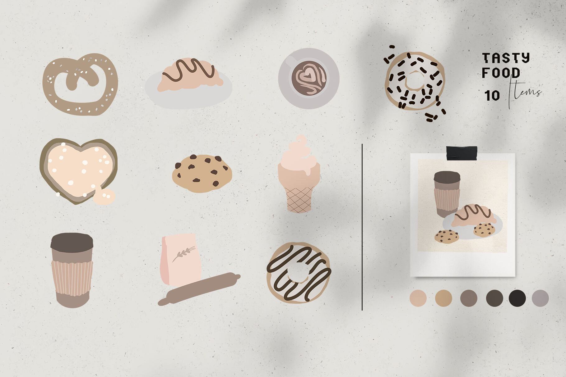 Neutral Colors Trendy Vector Food Clipart By Kaleriiat
