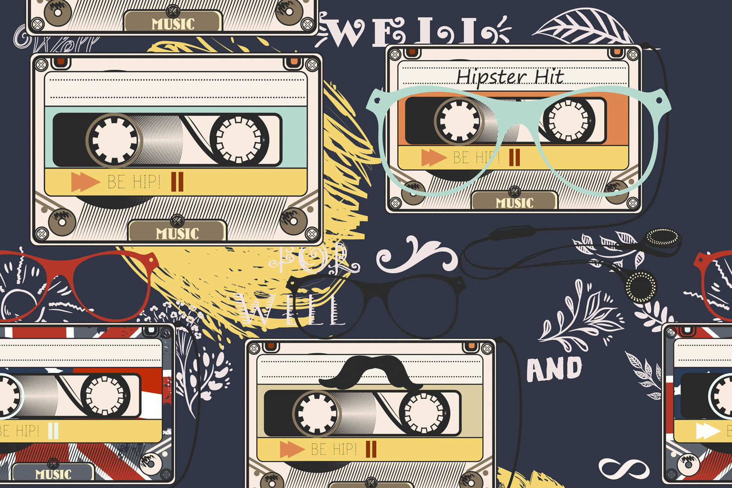Hipster Vector Background With Old Cassette Headphones Notes Bike