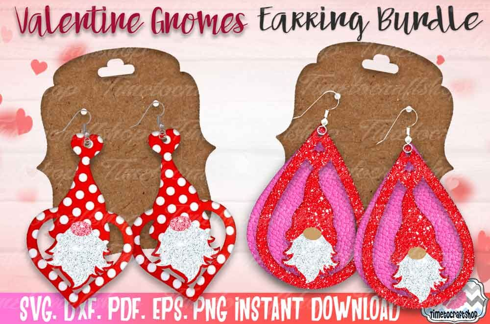 Svg Dxf Pdf Png And Eps Valentine Gnome Earring Template
