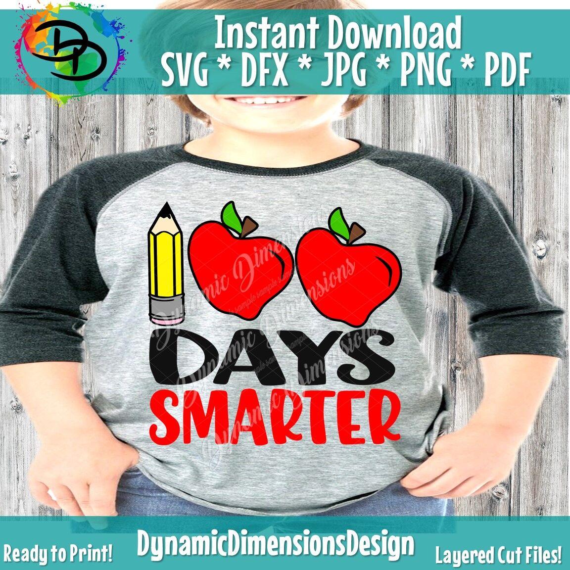 100 Days Smarter Svg 100th Day Of School Cut File Girl S Shirt Desig By Dynamic Dimensions Thehungryjpeg Com