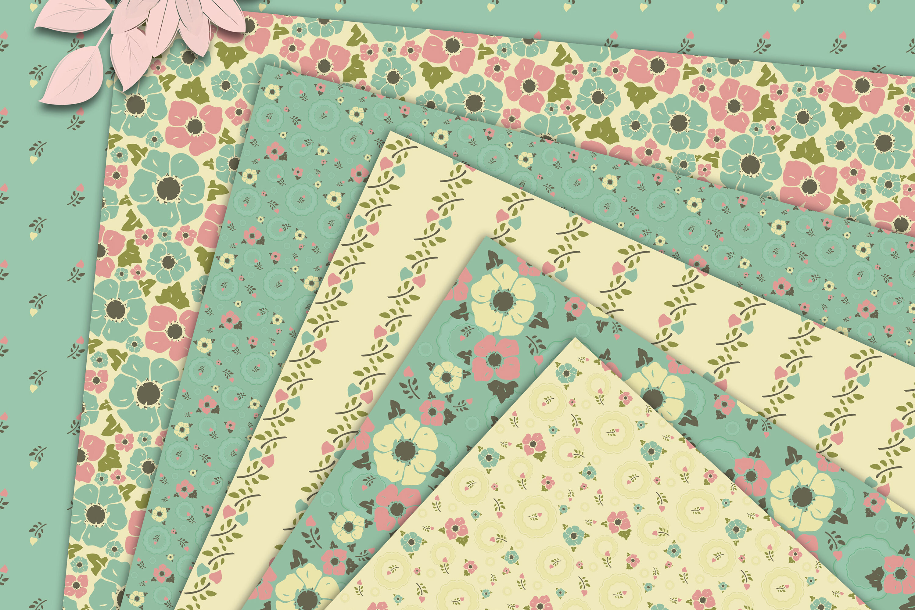 Vintage Flowers On Creamy And Mint Background Digital Paper By