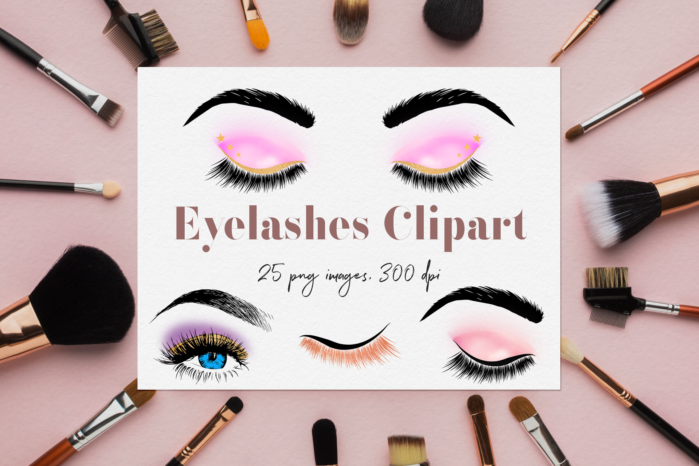 Eyelashes Clipart Glam Eyes By North Sea Studio Thehungryjpeg Com