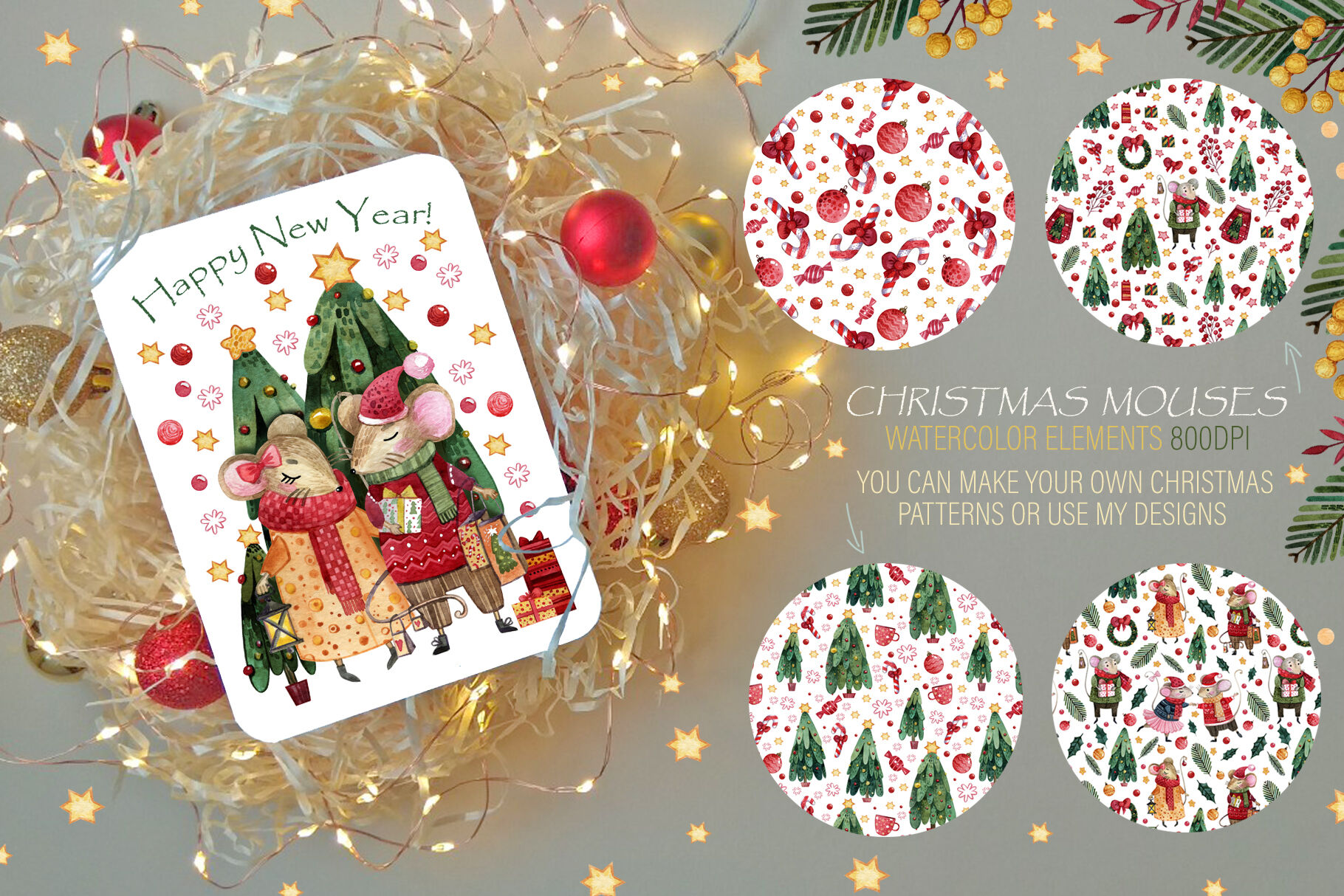Christmas Mouses Watercolor Collection By Kris Vibe