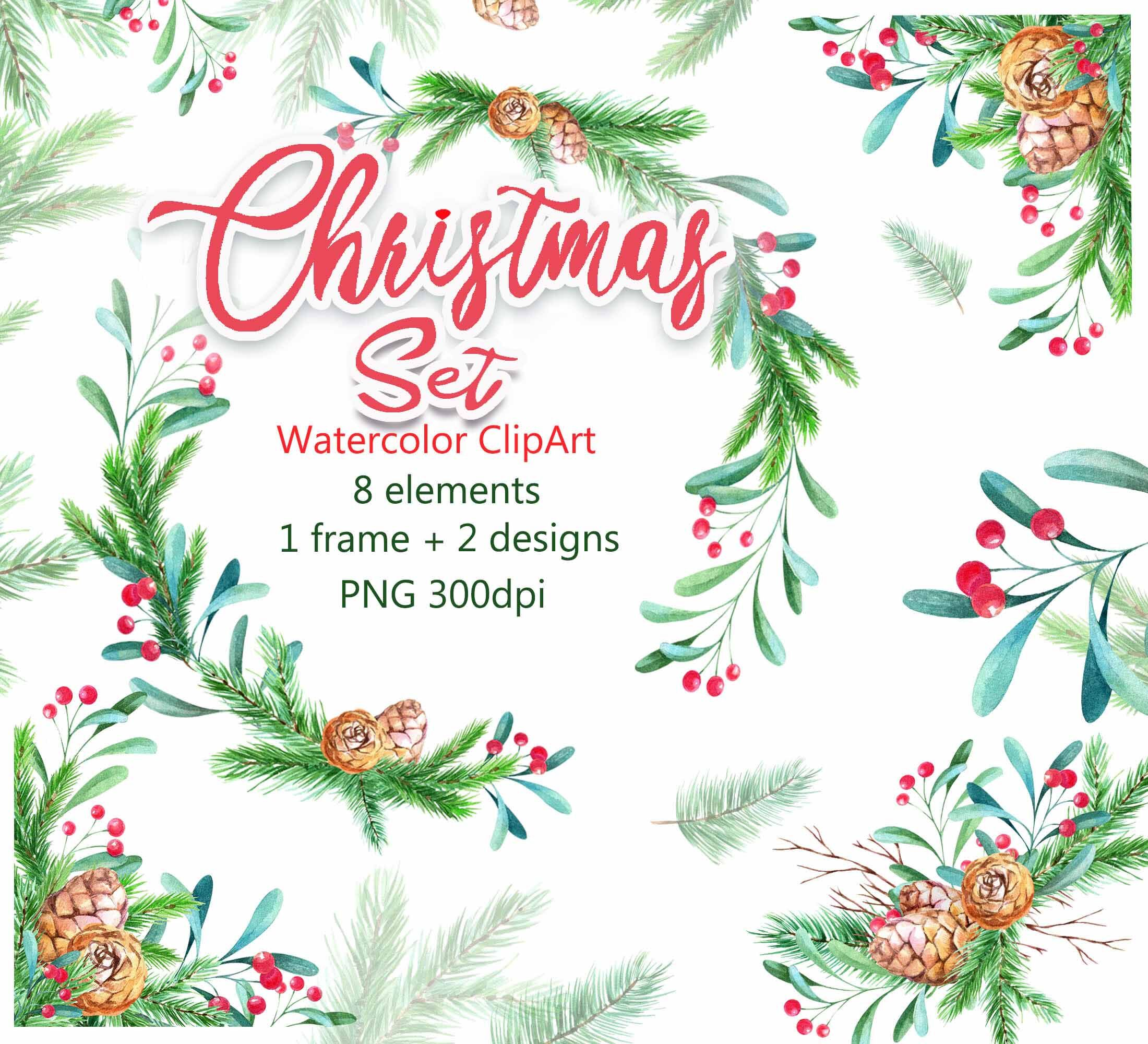 Christmas Watercolor Clip Art Frame Wreath Set Png By Vilenaart