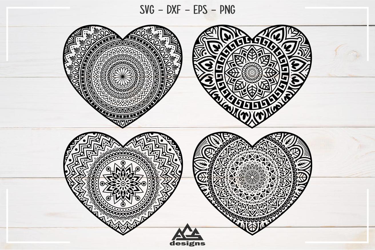 Heart Love Mandala Packs Svg Design By Agsdesign Thehungryjpeg Com