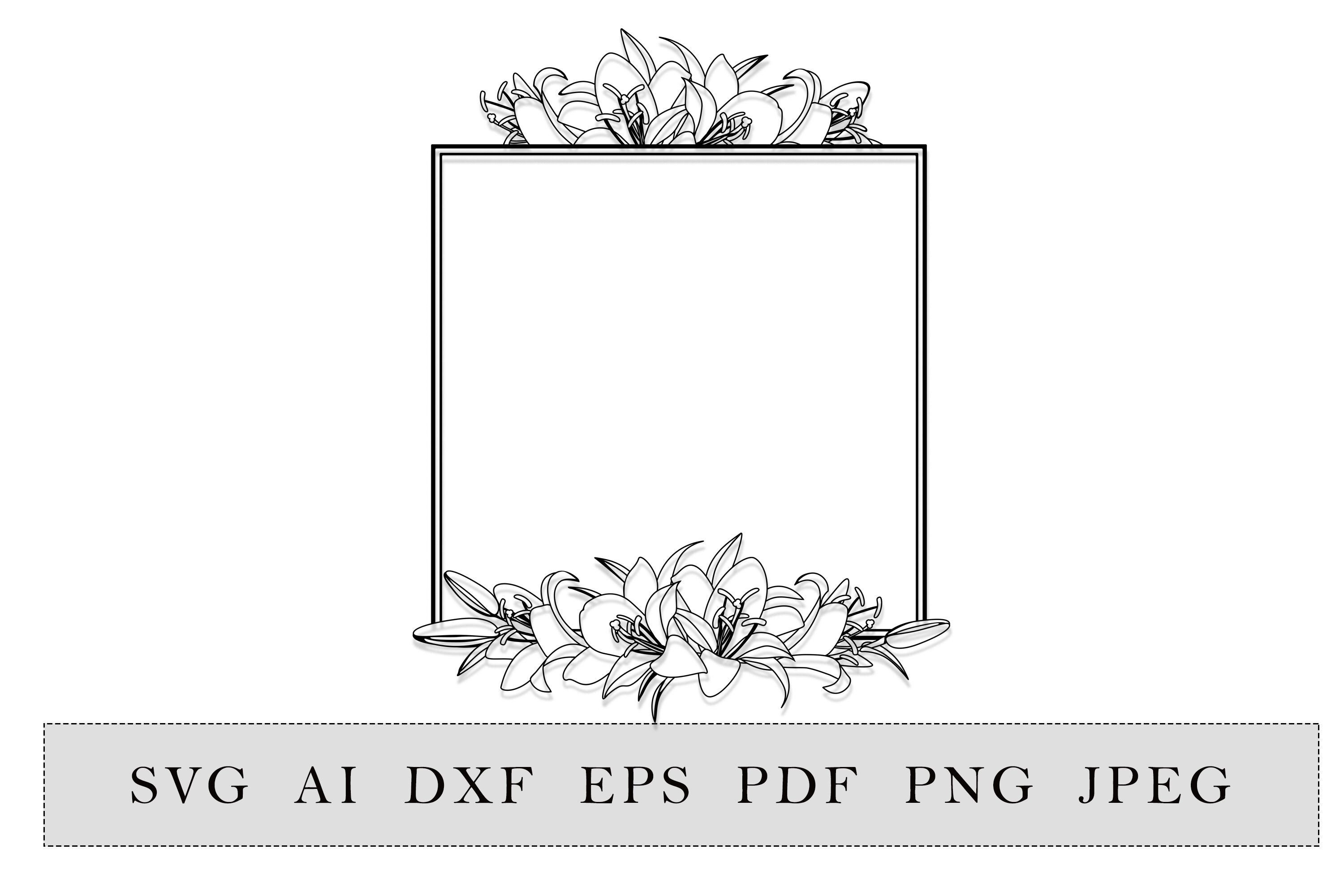 Floral Square Frame With Lilies Flowers By Esha Thehungryjpeg Com