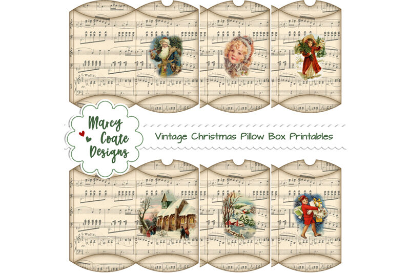 Vintage Christmas Pillow Boxes Printable By Marcy Coate