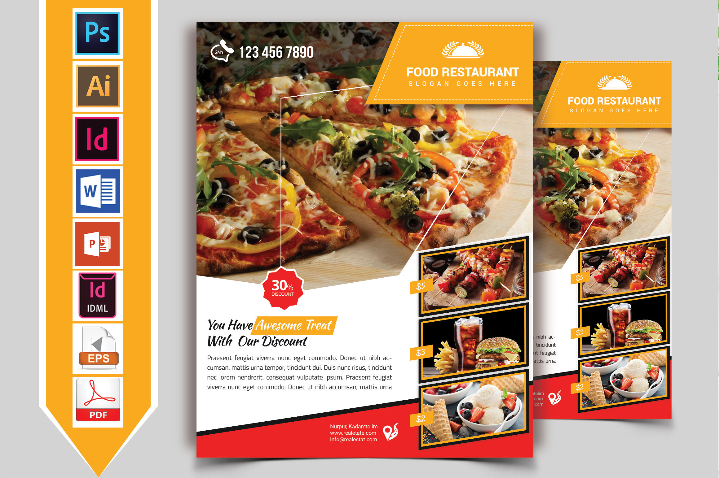 Restaurant Flyer Vol 06 By Imagine Design Studio Thehungryjpeg Com