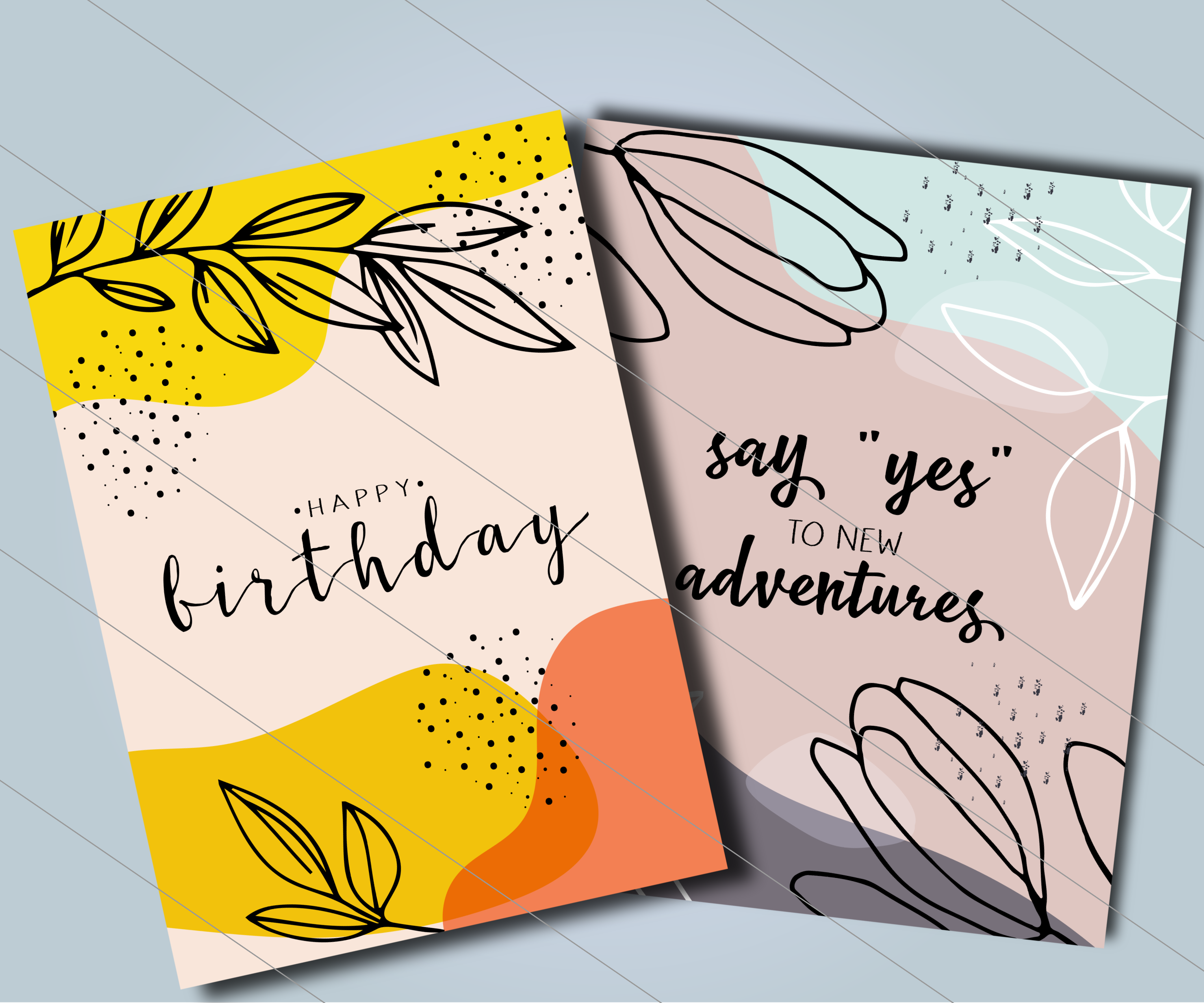 Cute Greeting Cards Branches For Print And Web By Nastenkaantoniuk