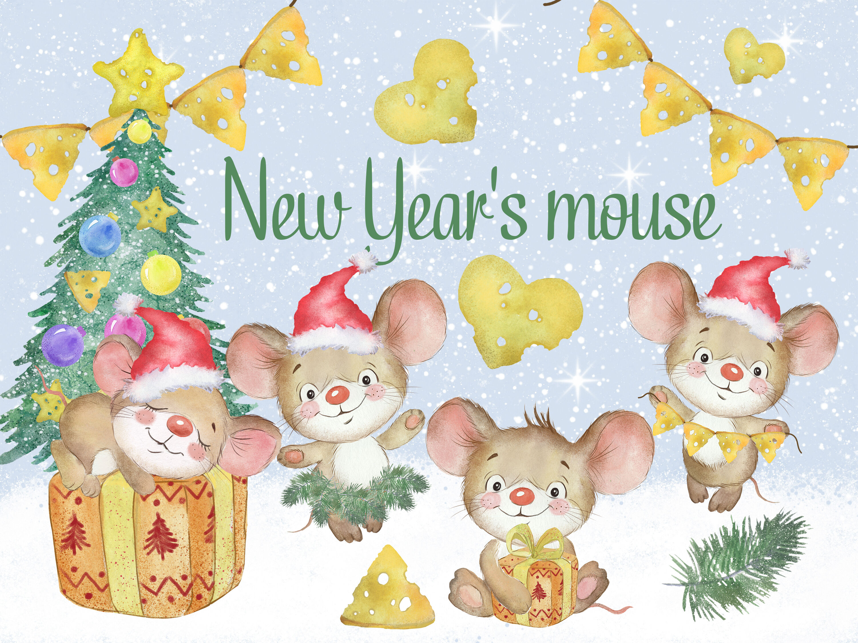 Watercolor Christmas Clip Art Mouse Christmas Animals Lovely