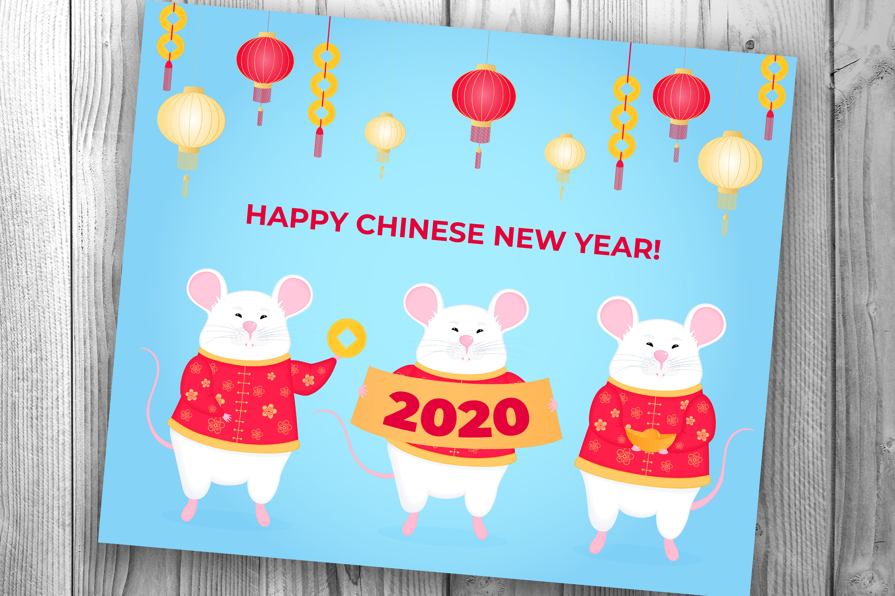 Chinese New Year White Rats Greeting Cards And Calendar By