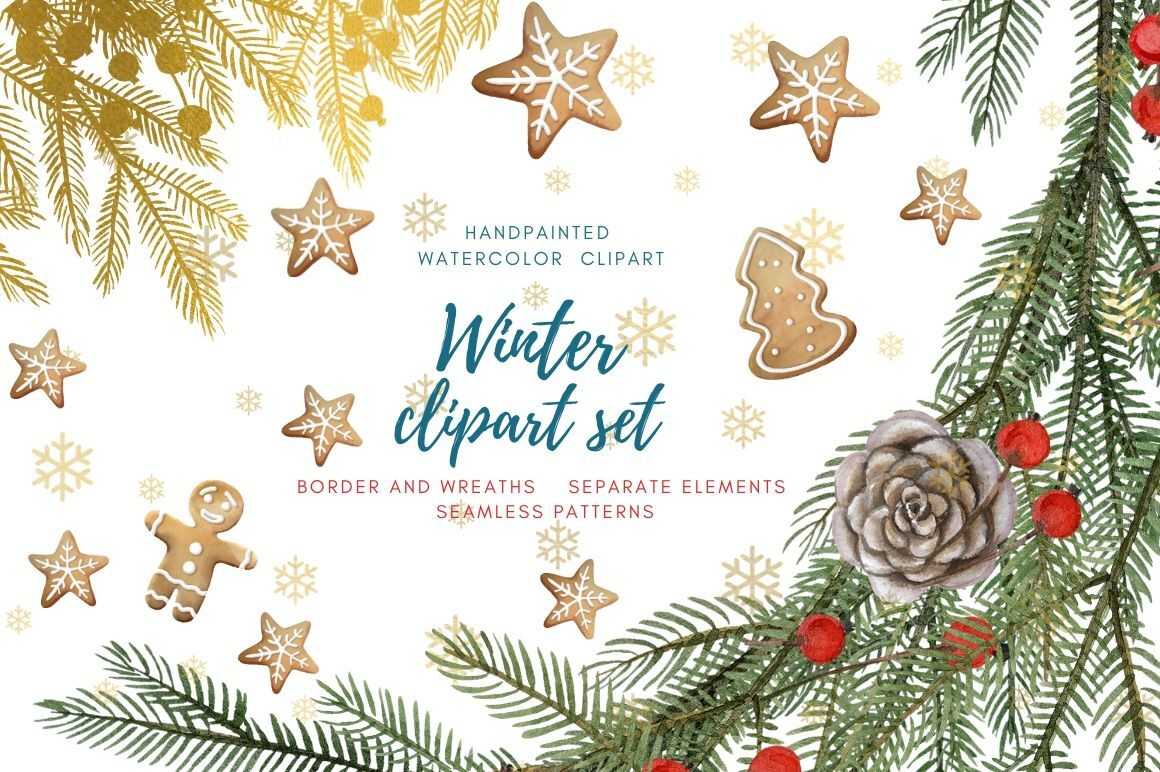 Winter Clipart Set Hand Painted Watercolor Christmas Collection