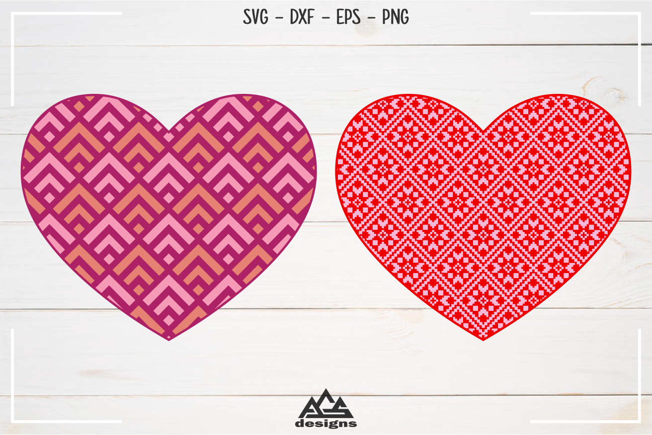 Love Heart Knitted Pattern Valentine Svg Design By Agsdesign