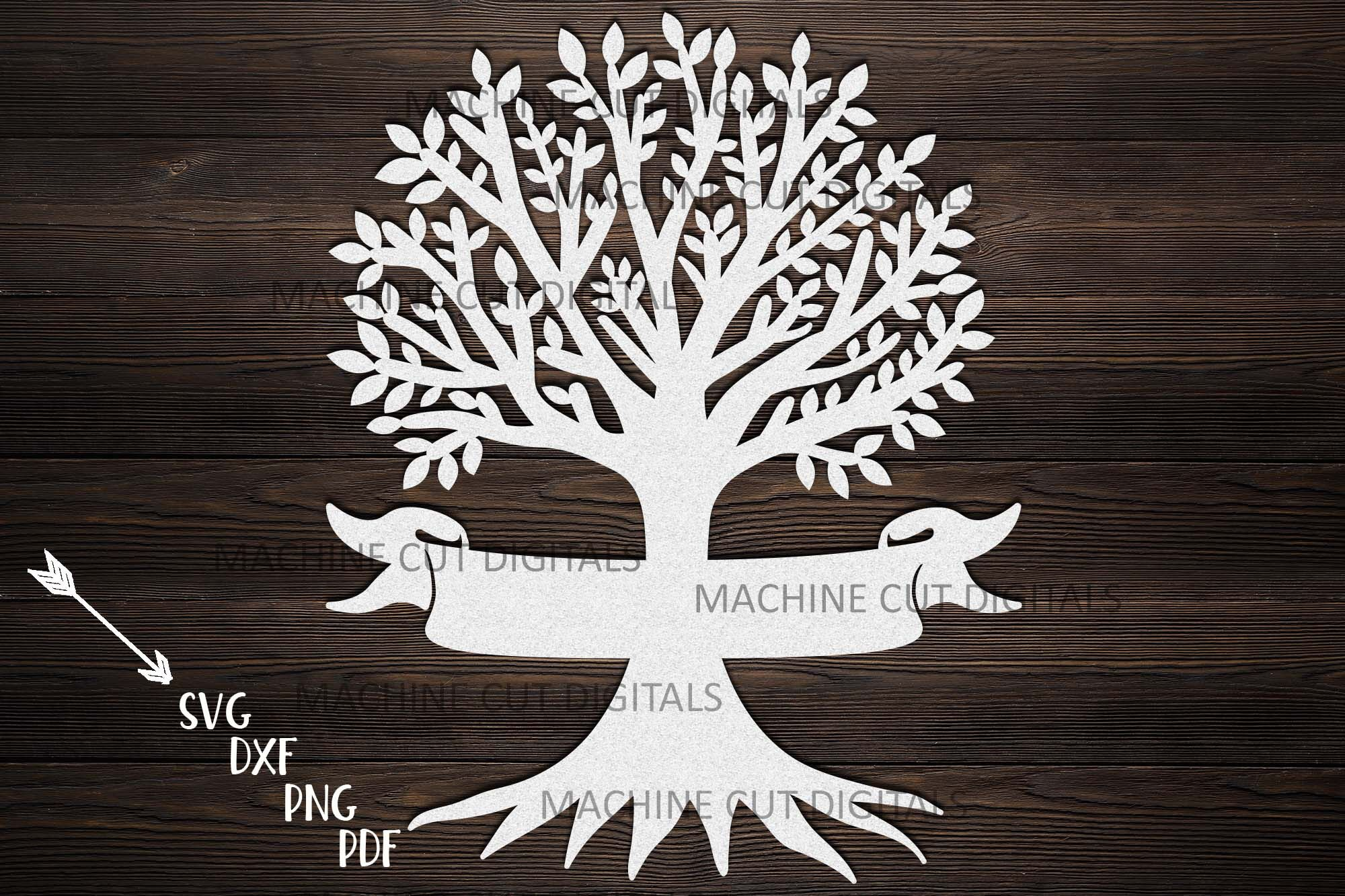Family Reunion Tree With Names Ribbon Paper Laser Cut Svg Dxf By