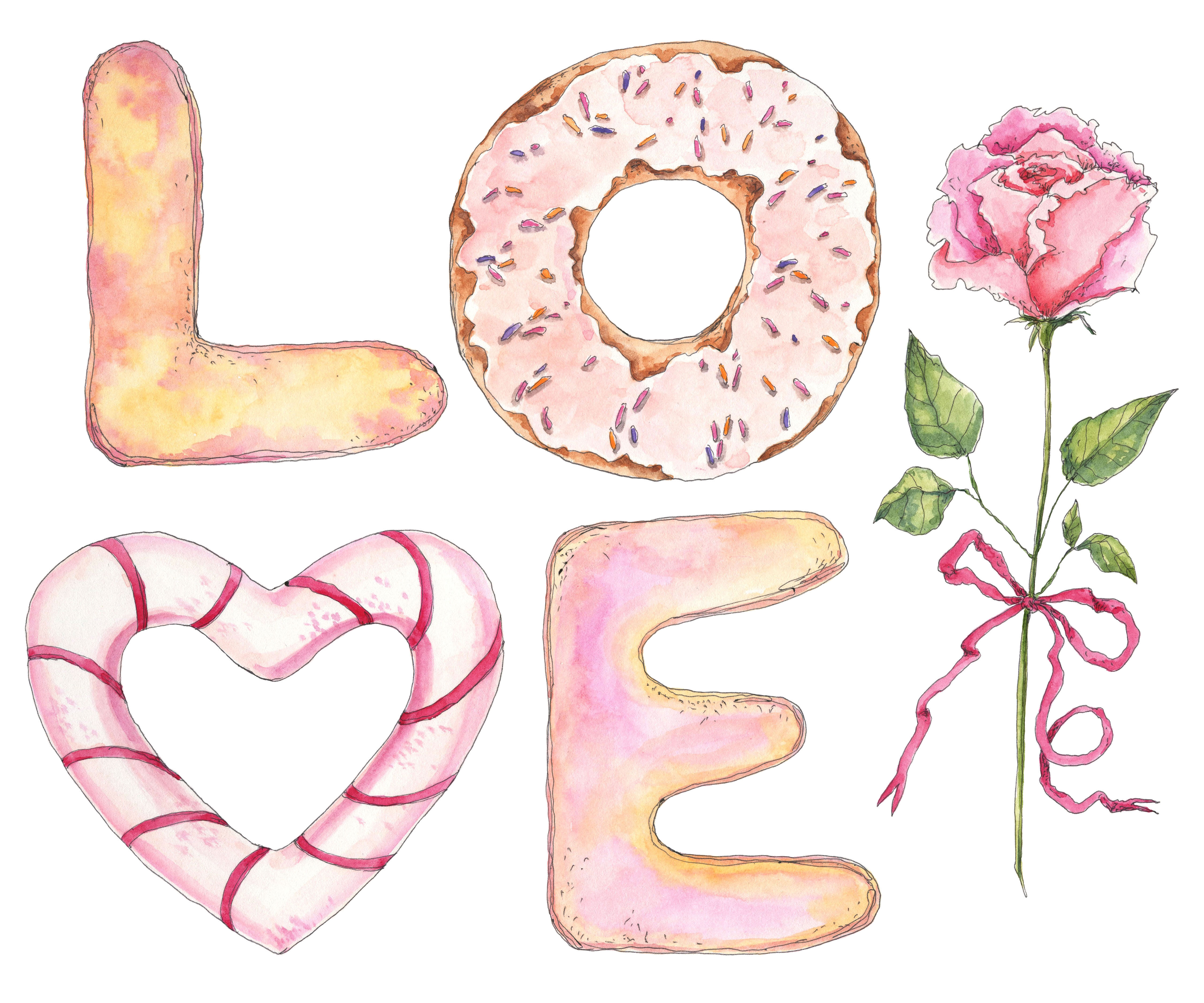 Word Letters Love With A Rose In Watercolor Sketching Style By