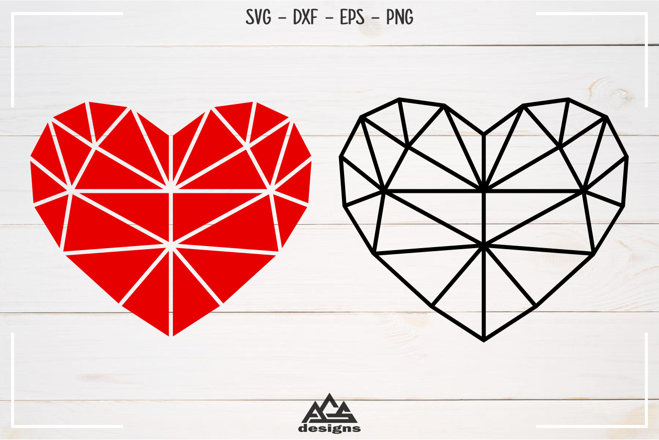 Heart Love Geometric Shape Svg Design By Agsdesign Thehungryjpeg Com