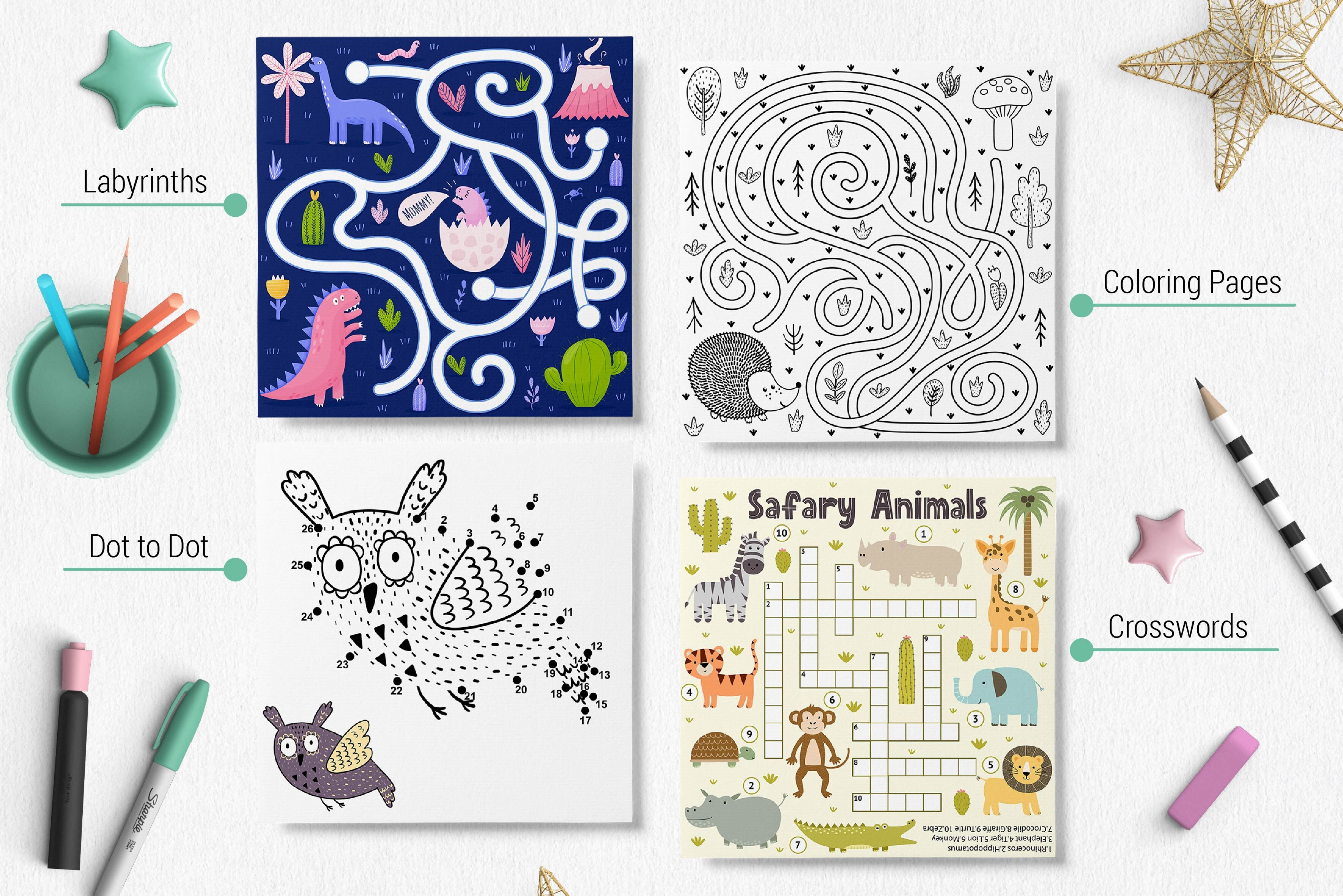 Activities For Kids Big Collection By Juliyas Art Thehungryjpeg Com