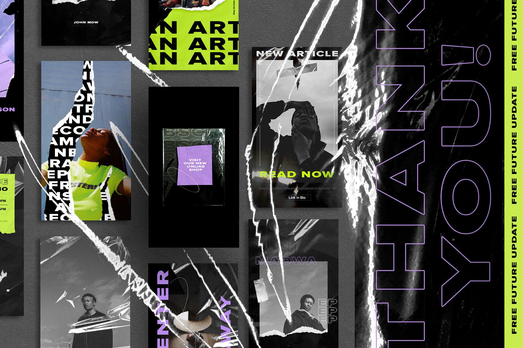 Acid Bold Trend Neon Instagram Templates By Storiesnoworries