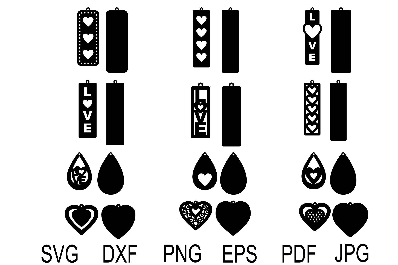 Heart Earring Svg Valentine Earrings Earrings Template Earrings